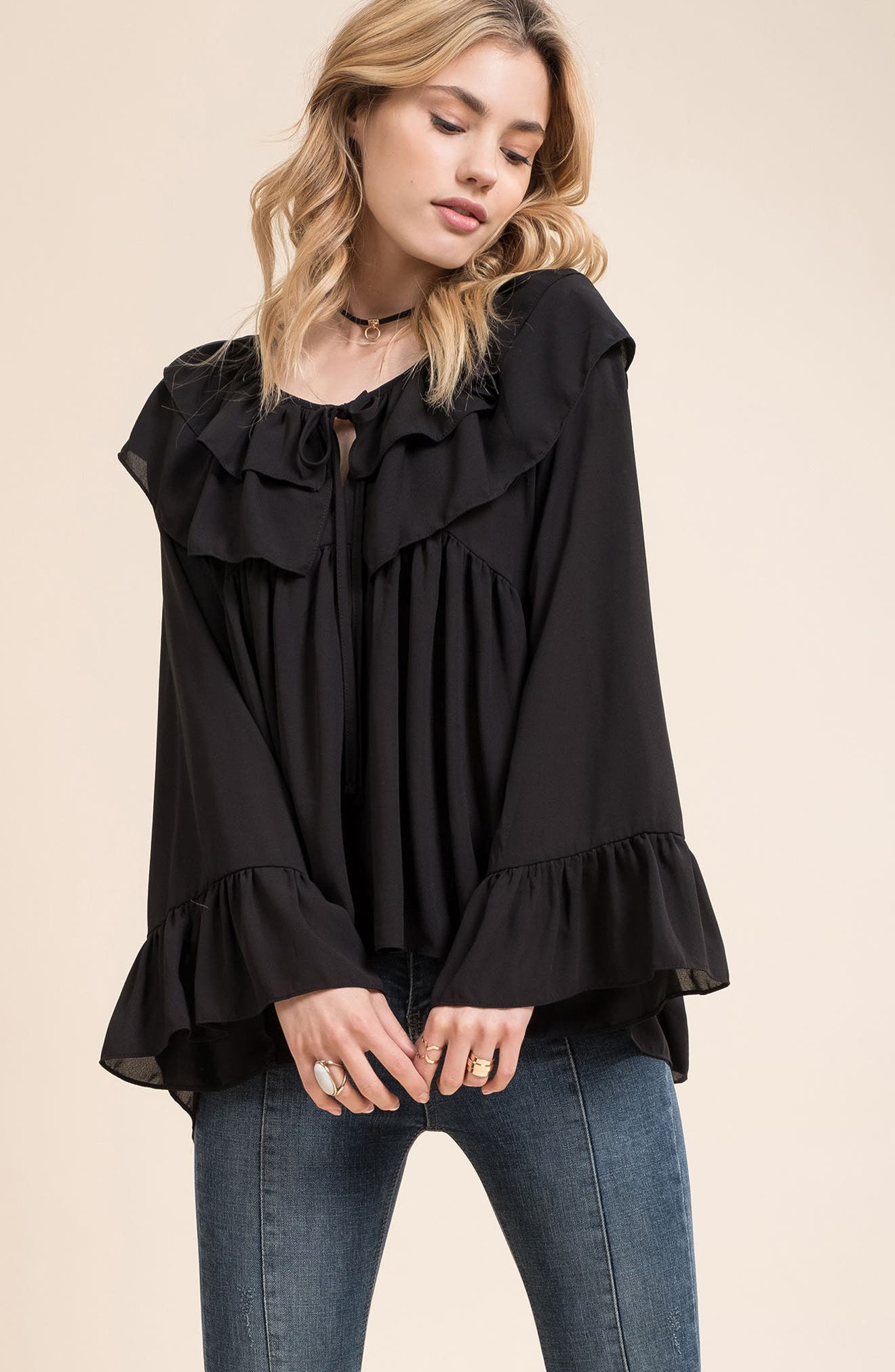 Alternate Image 2  - MOON RIVER Layered Ruffle Blouse