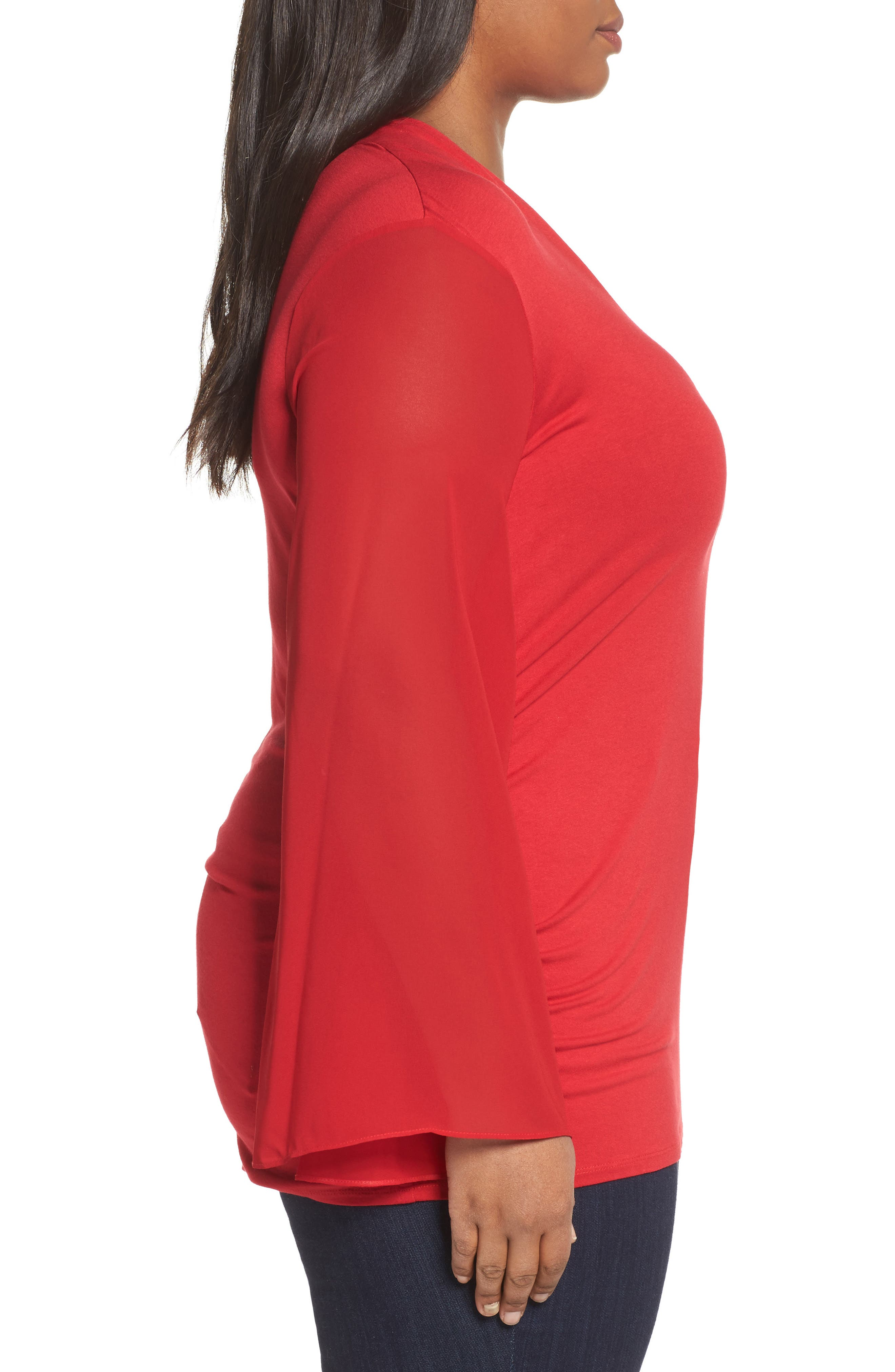 Ruched Bell Sleeve Chiffon Blouse,                             Alternate thumbnail 3, color,                             True Crimson