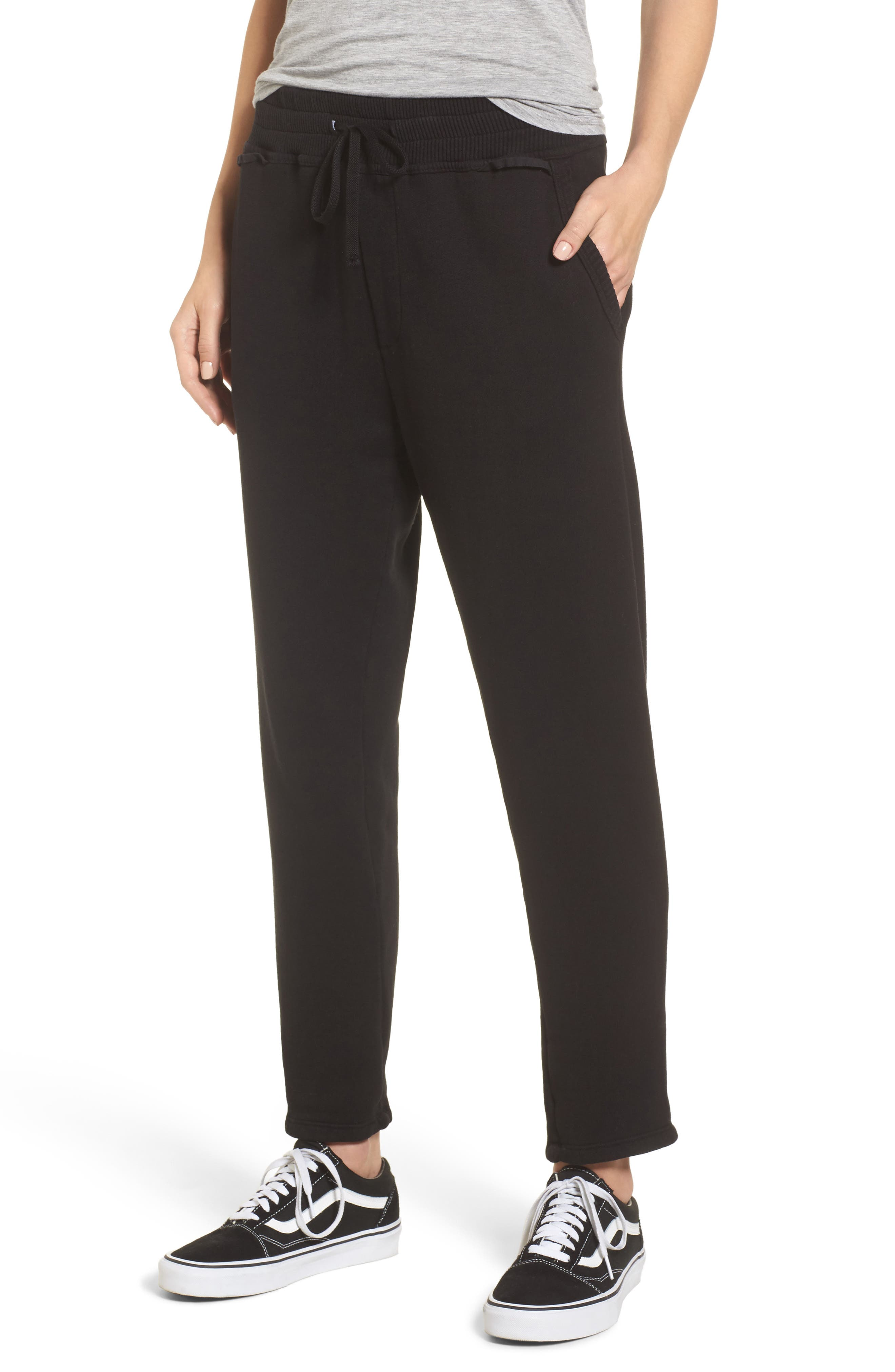 Terry Lounge Pants,                         Main,                         color, Black