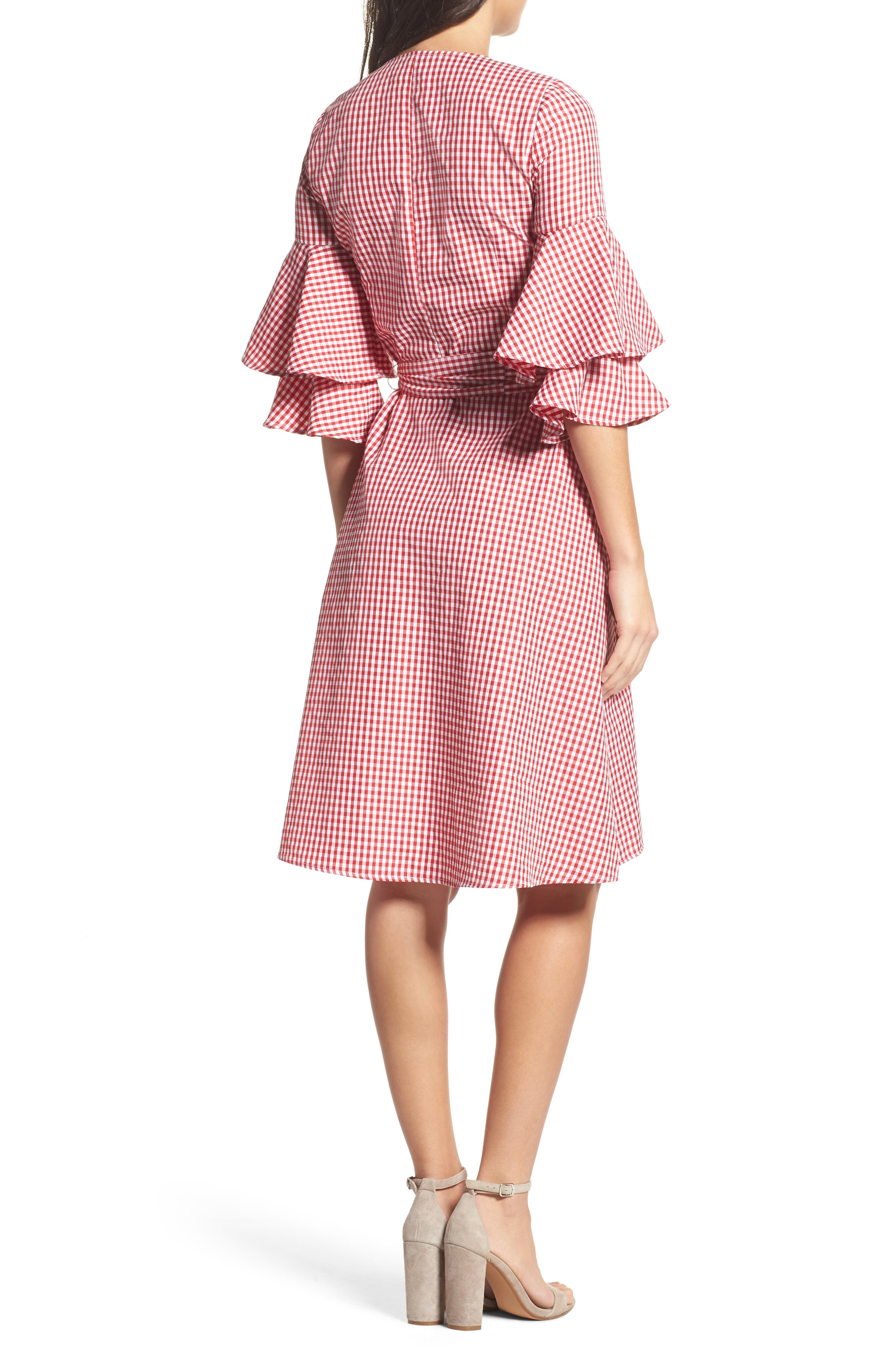 Ruffle Wrap Dress,                             Alternate thumbnail 3, color,                             Red/ White Gingham