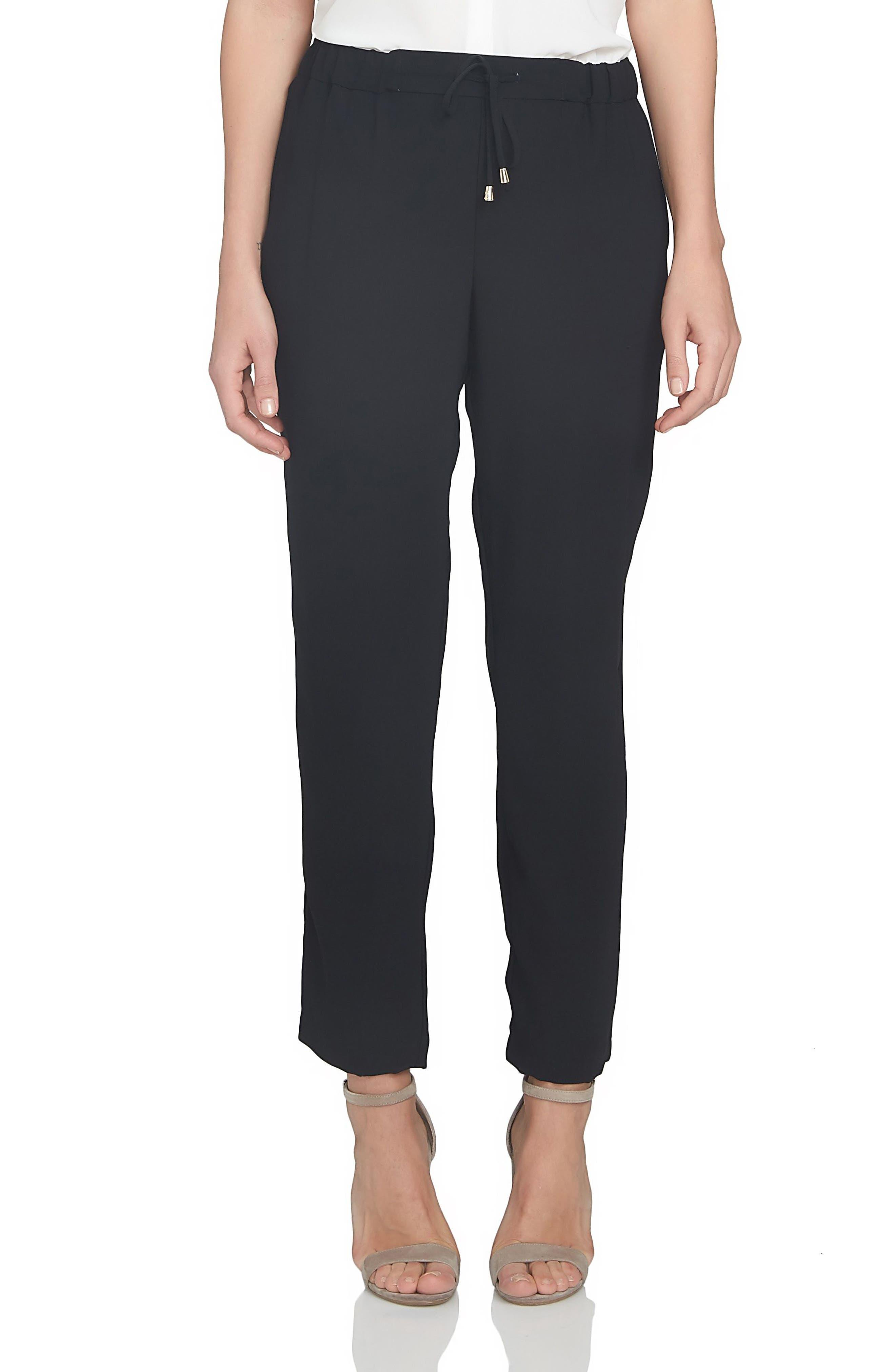 Soft Crepe Jogger Pants,                             Main thumbnail 1, color,                             Black