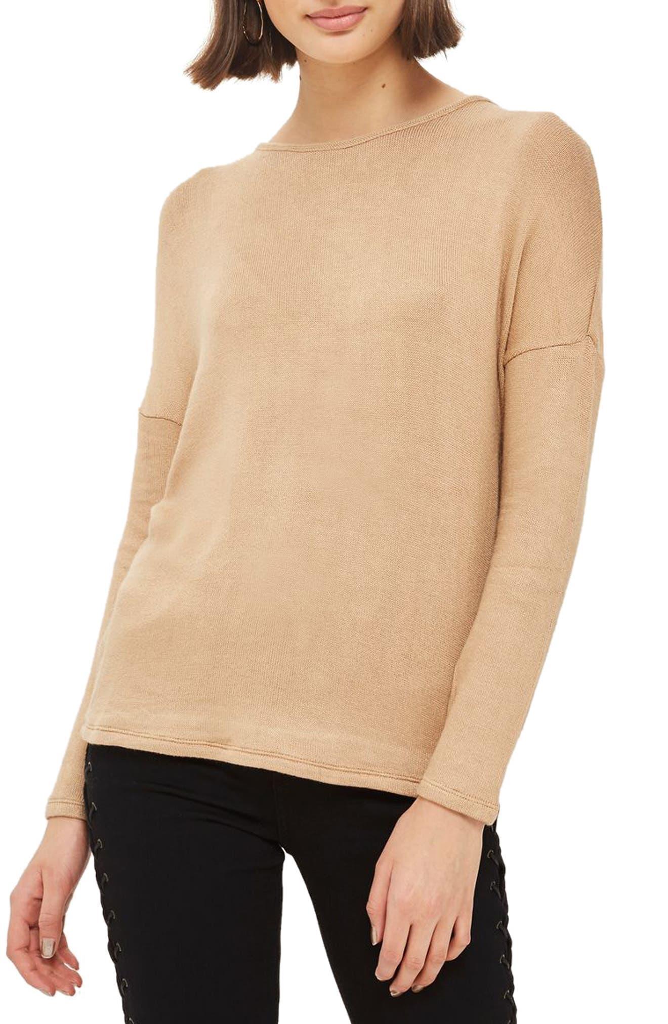 Main Image - Topshop Drop Shoulder Tie Back Sweater