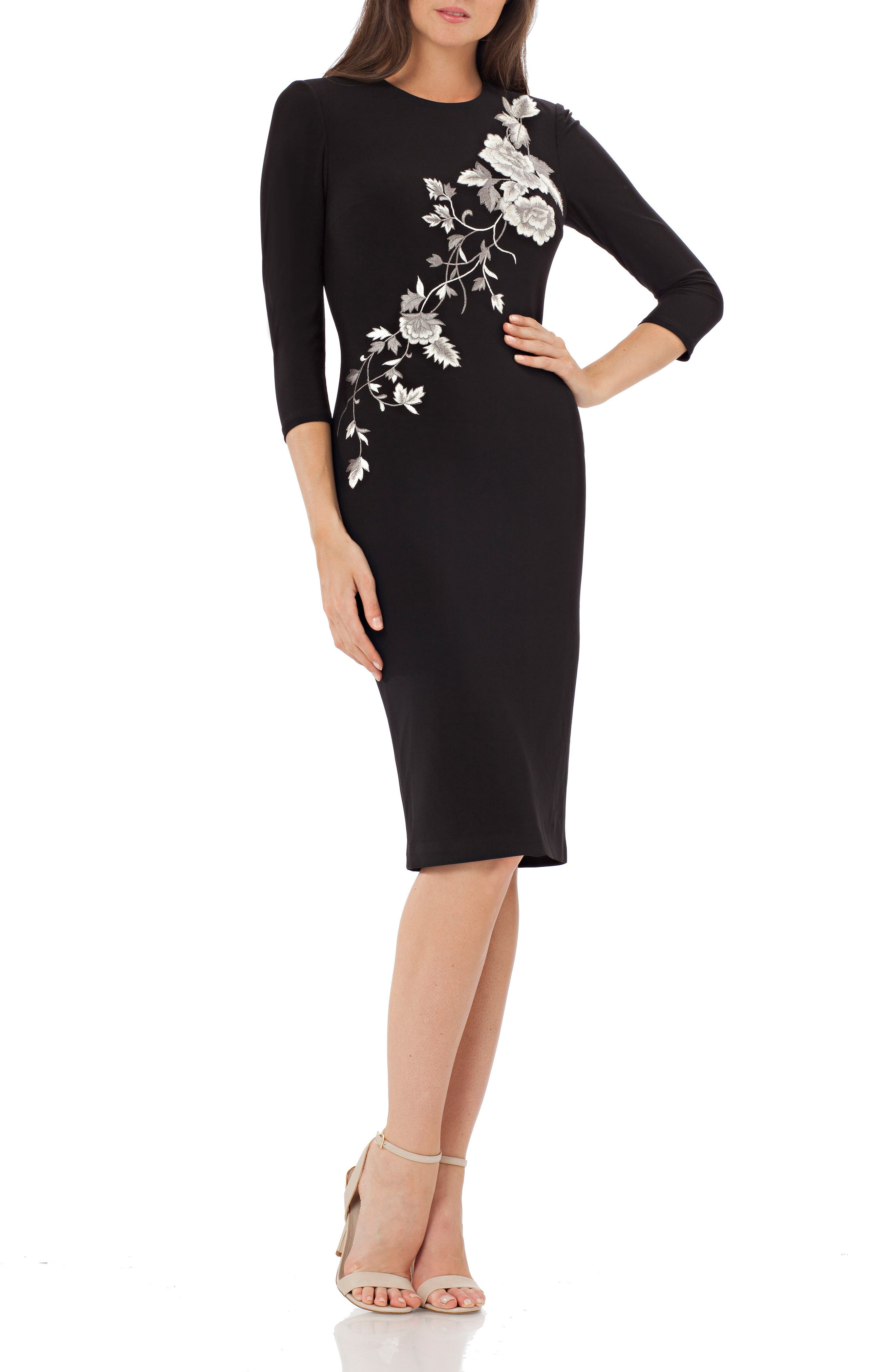 Embroidered Jersey Cocktail Dress,                         Main,                         color, Black
