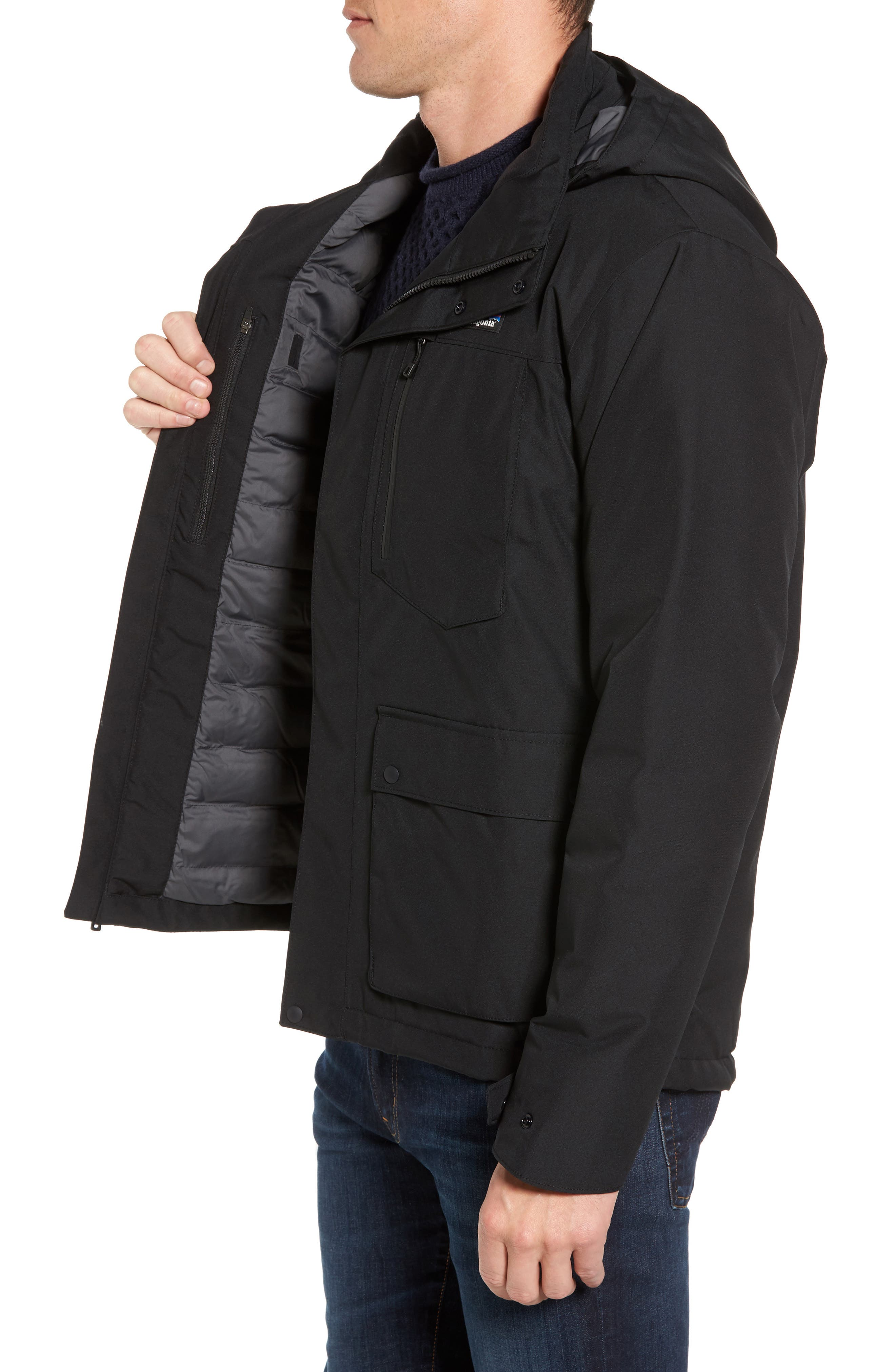 Topley Waterproof Down Jacket,                             Alternate thumbnail 3, color,                             Black