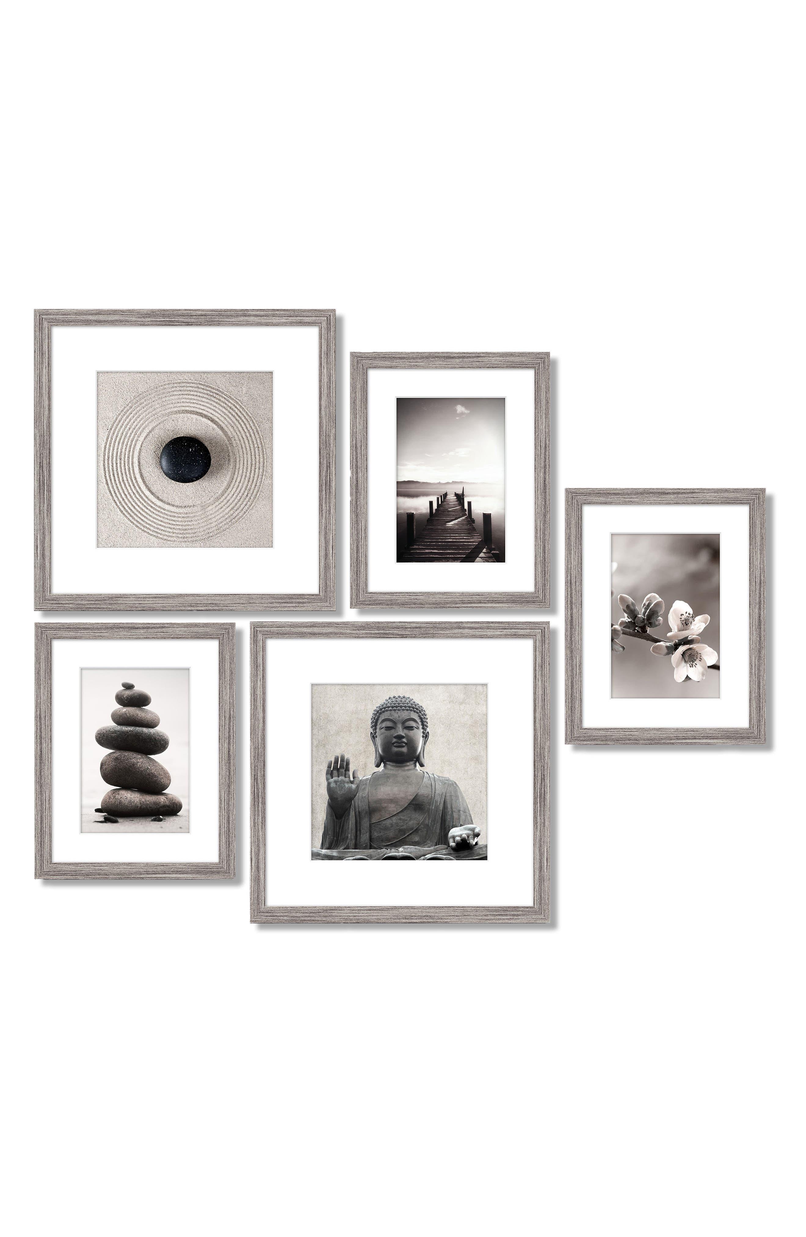 5-Piece Framed Wall Art Gallery,                         Main,                         color, Zen