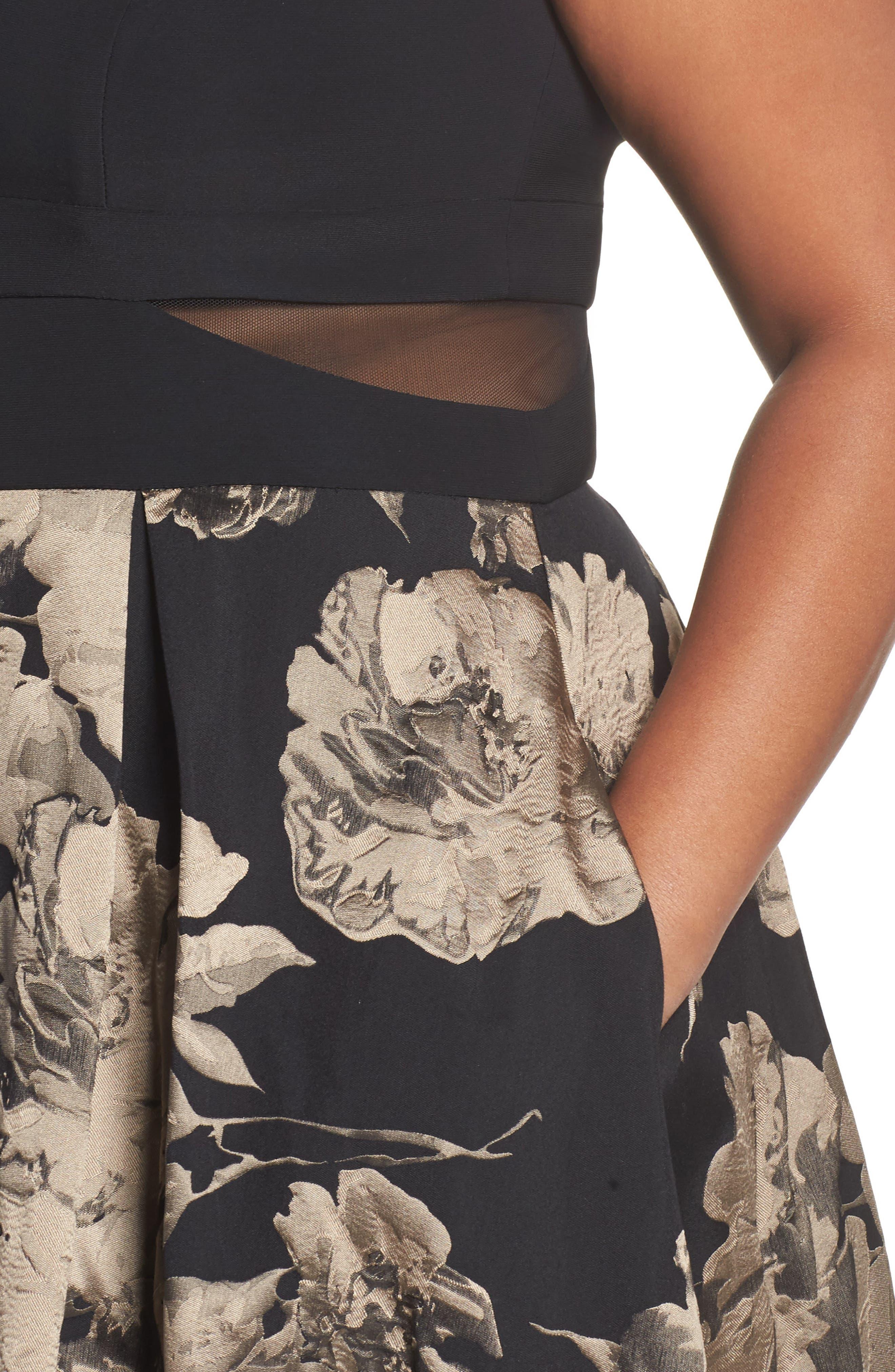 Mesh Waist High/Low Brocade Dress,                             Alternate thumbnail 4, color,                             Black/ Champagne
