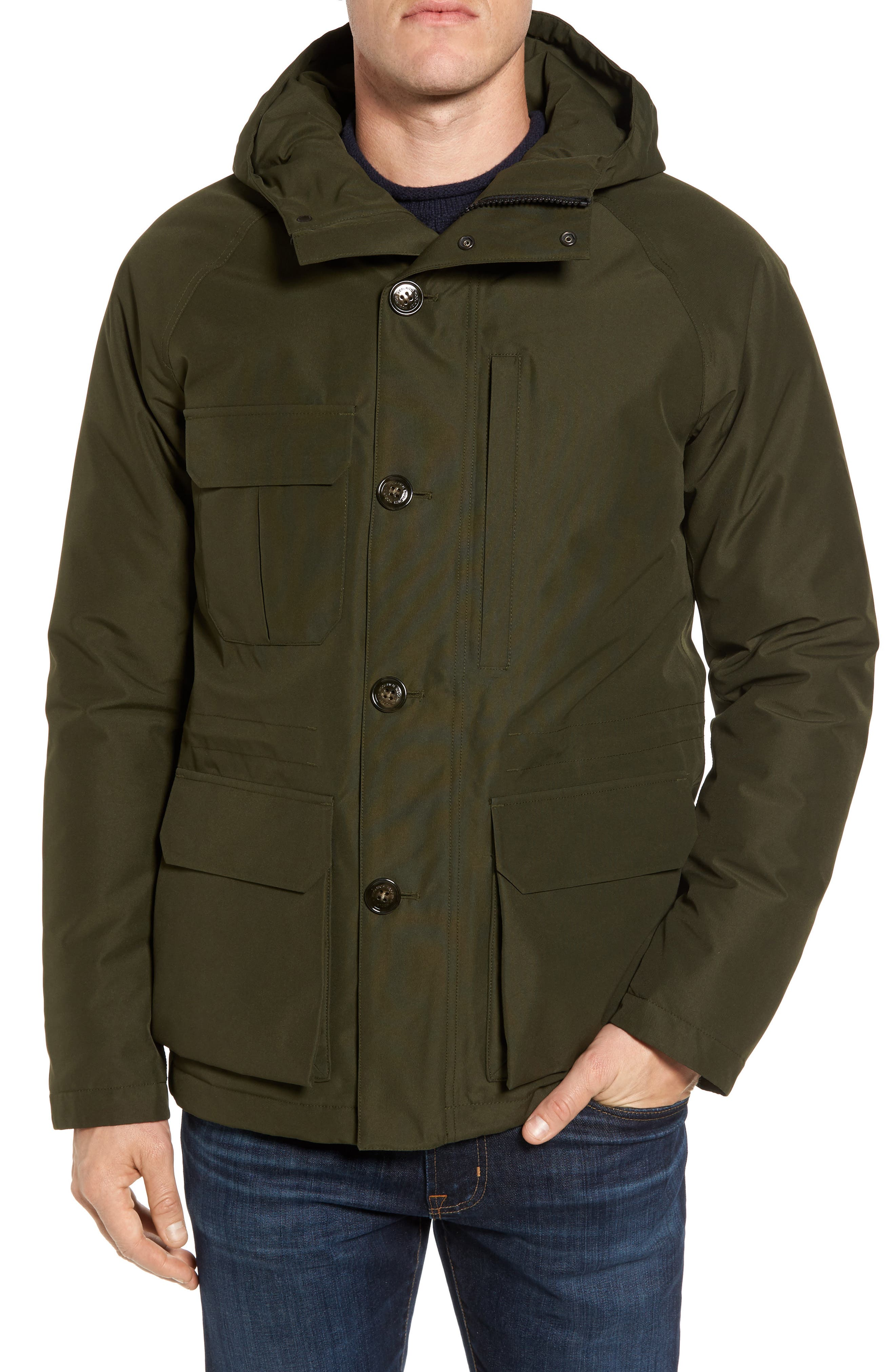 John Rich & Bros. GTX Mountain Waterproof Down Jacket,                         Main,                         color, Dark Green