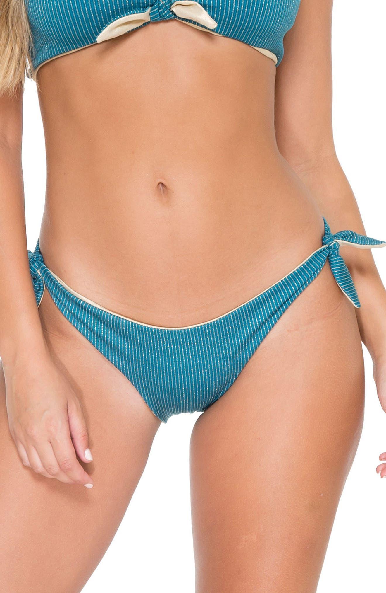 Cayo Hueso Reversible Bikini Bottoms,                         Main,                         color, Miramar Blue/ Gold