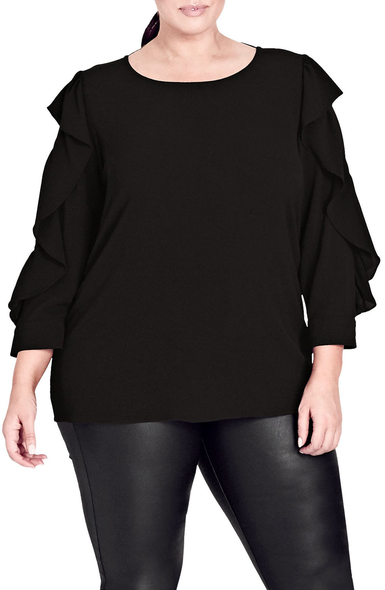 Ruffle Sleeve Button Back Shirt,                         Main,                         color, Black