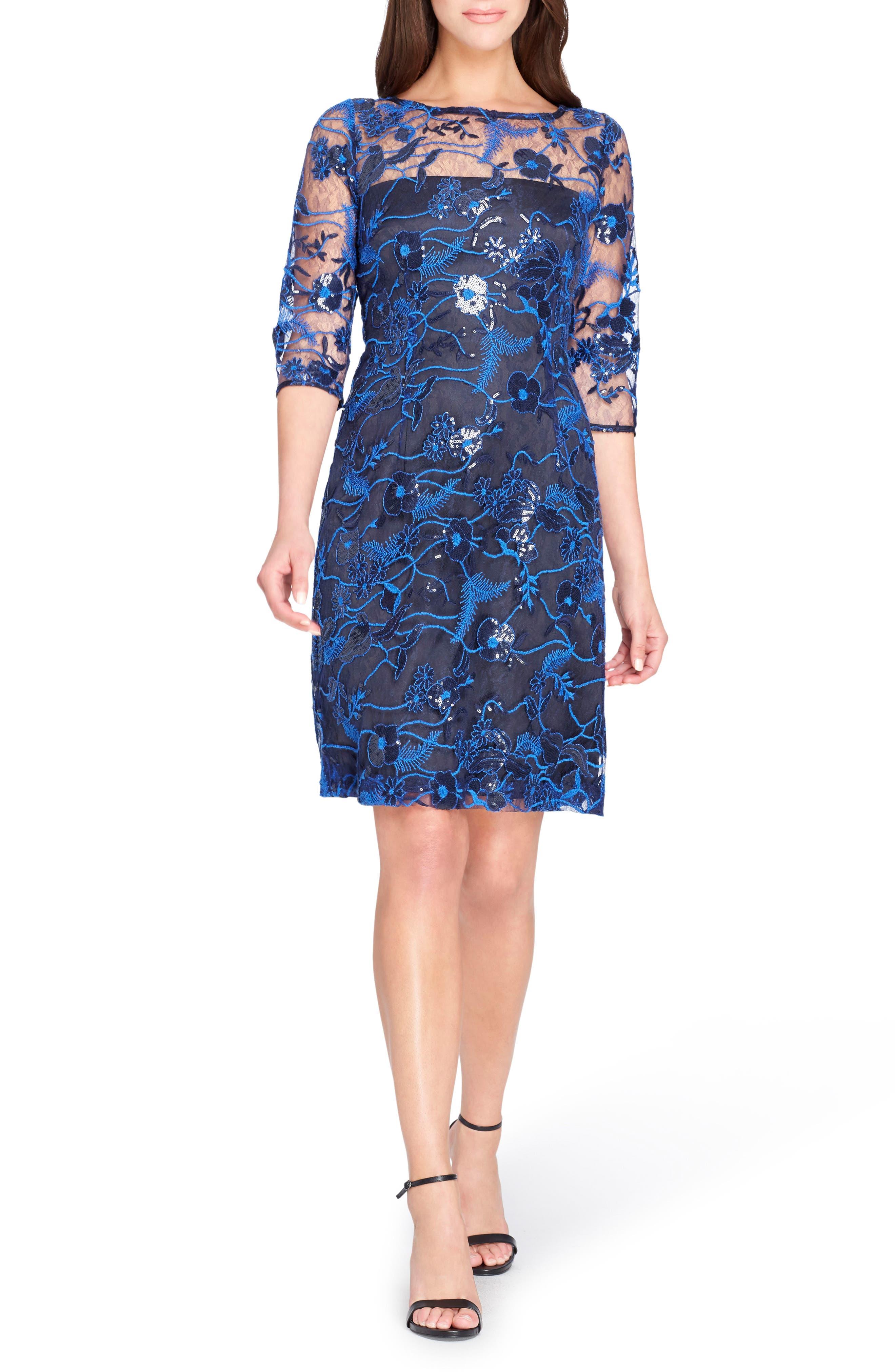 Illusion Lace Sheath Dress,                             Main thumbnail 1, color,                             Lapis/ Navy/ Black