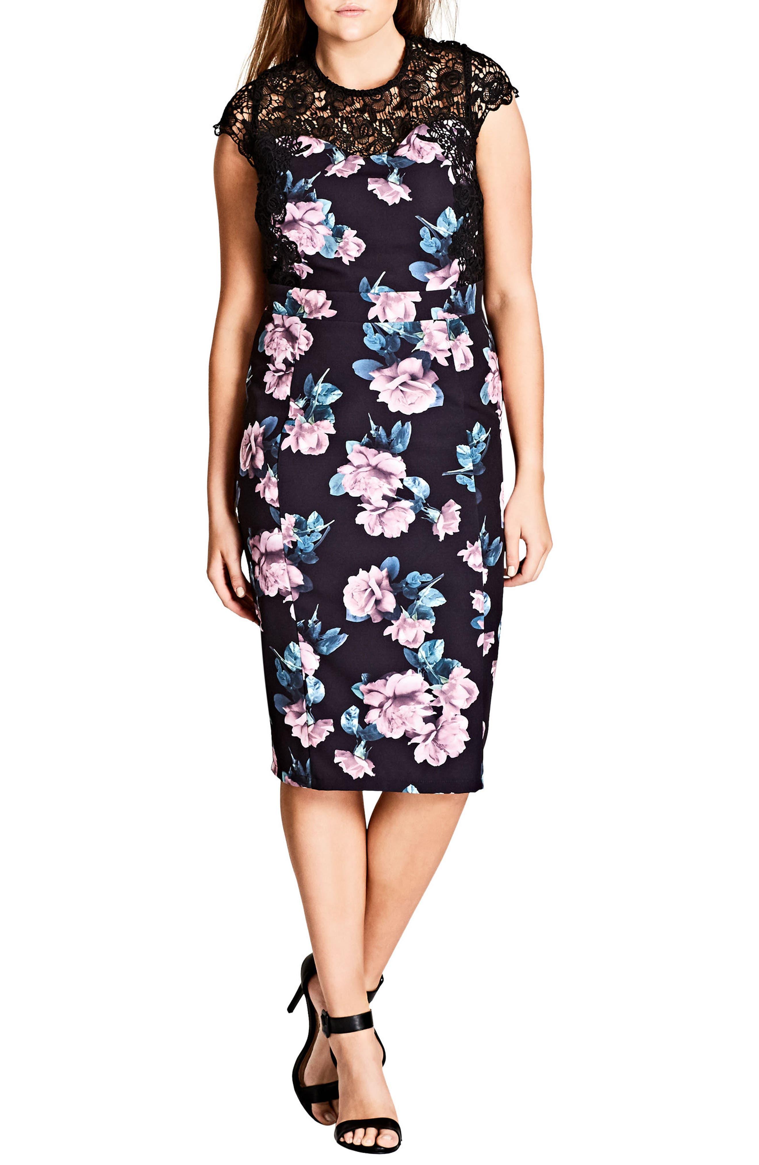 City Chic Vintage Rose Lace Yoke Sheath Dress (Plus Size)