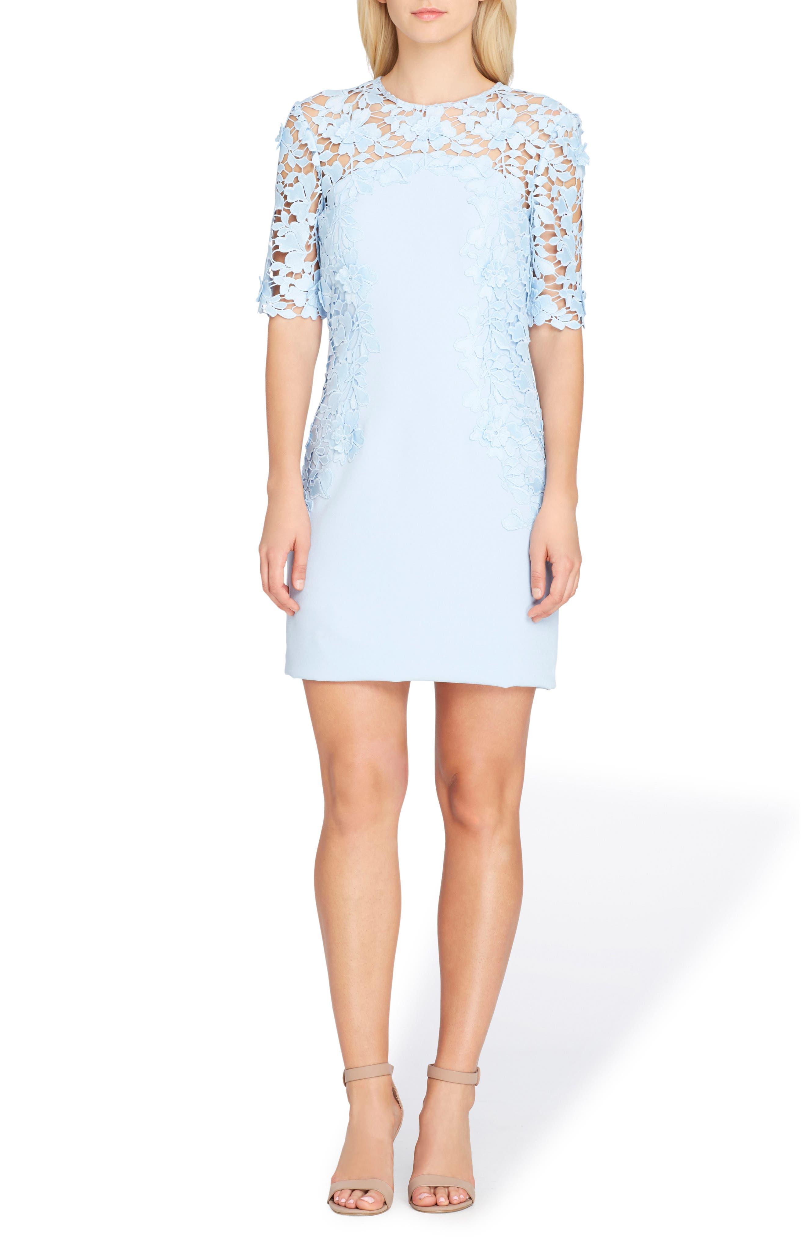 Lace Sheath Dress,                             Main thumbnail 1, color,                             Ice Blue