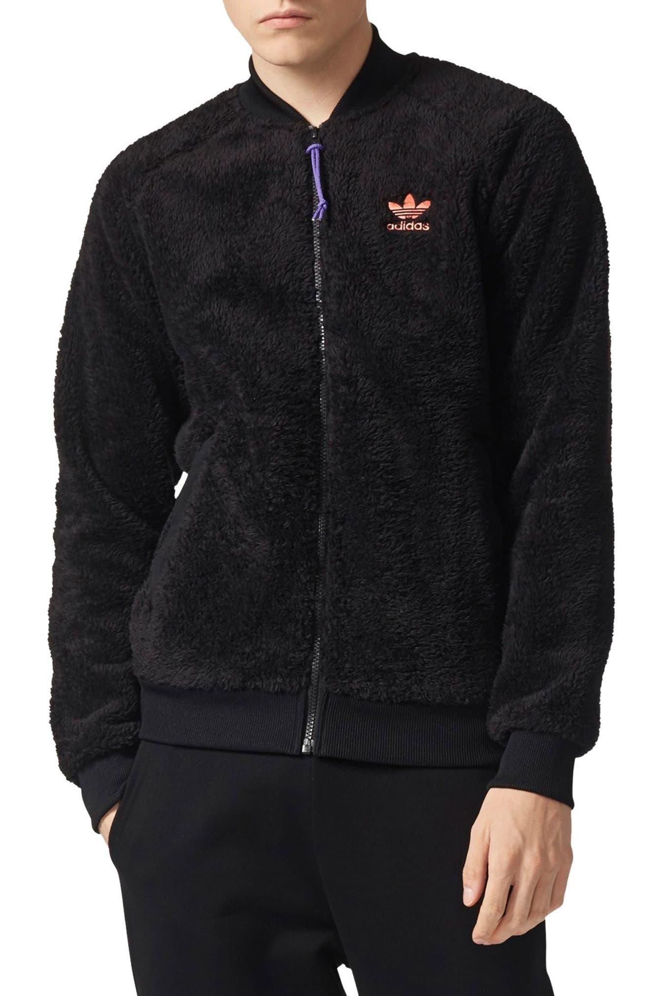 Originals Pharrell Williams Hu Hiking Fleece Track Jacket,                         Main,                         color, Black