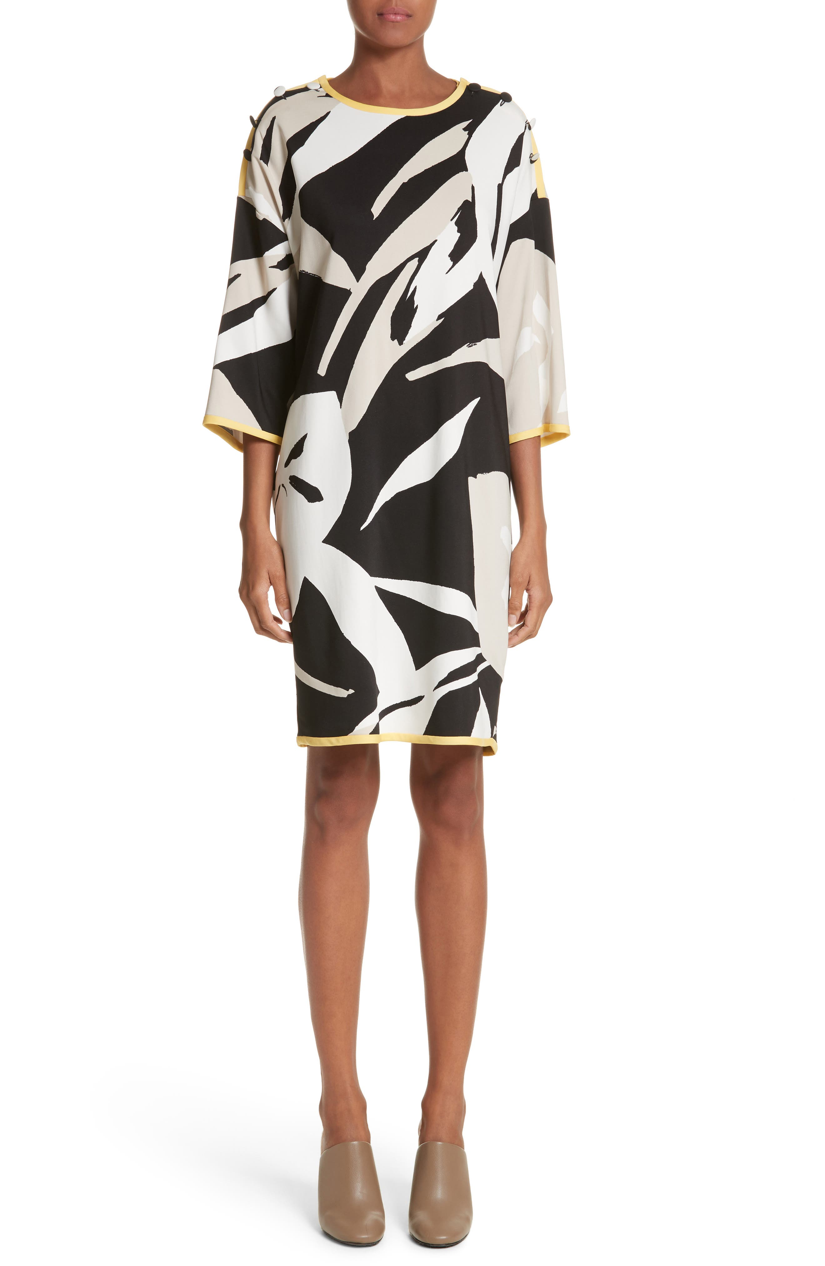 Leva Print Shift Dress,                             Main thumbnail 1, color,                             Black