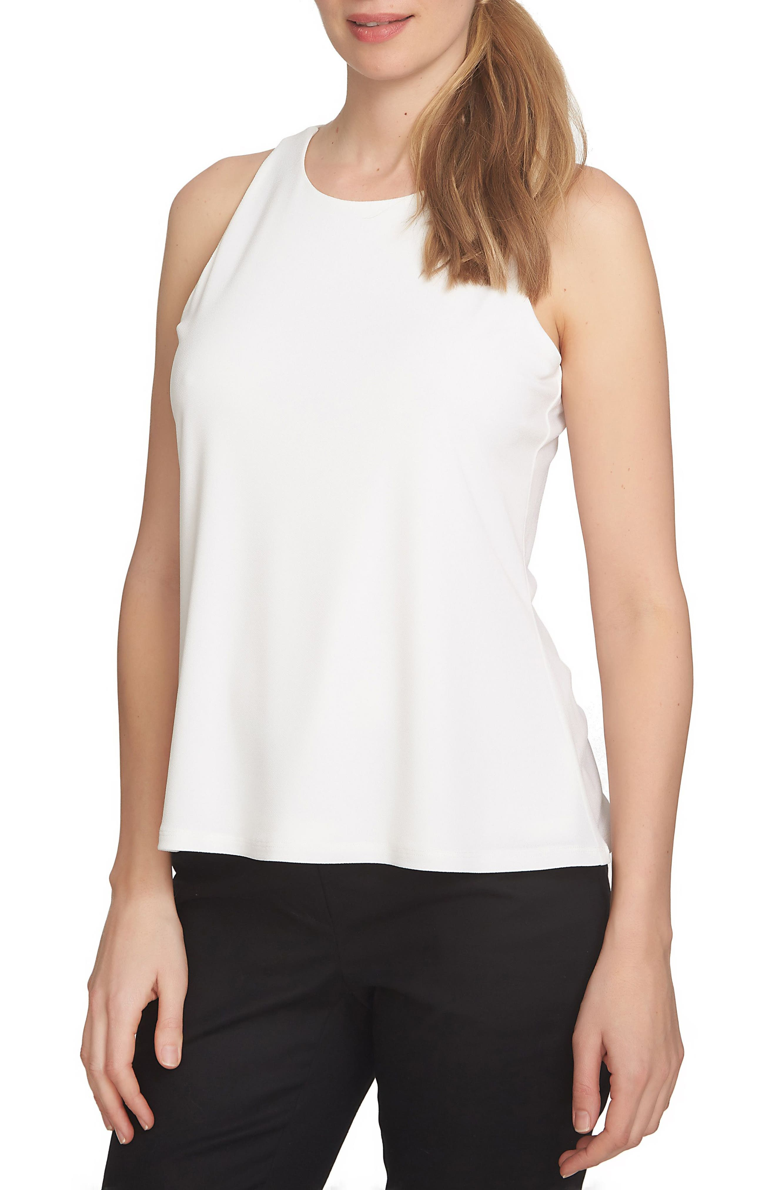 Twist Back Crepe Knit Tank,                         Main,                         color, New Ivory