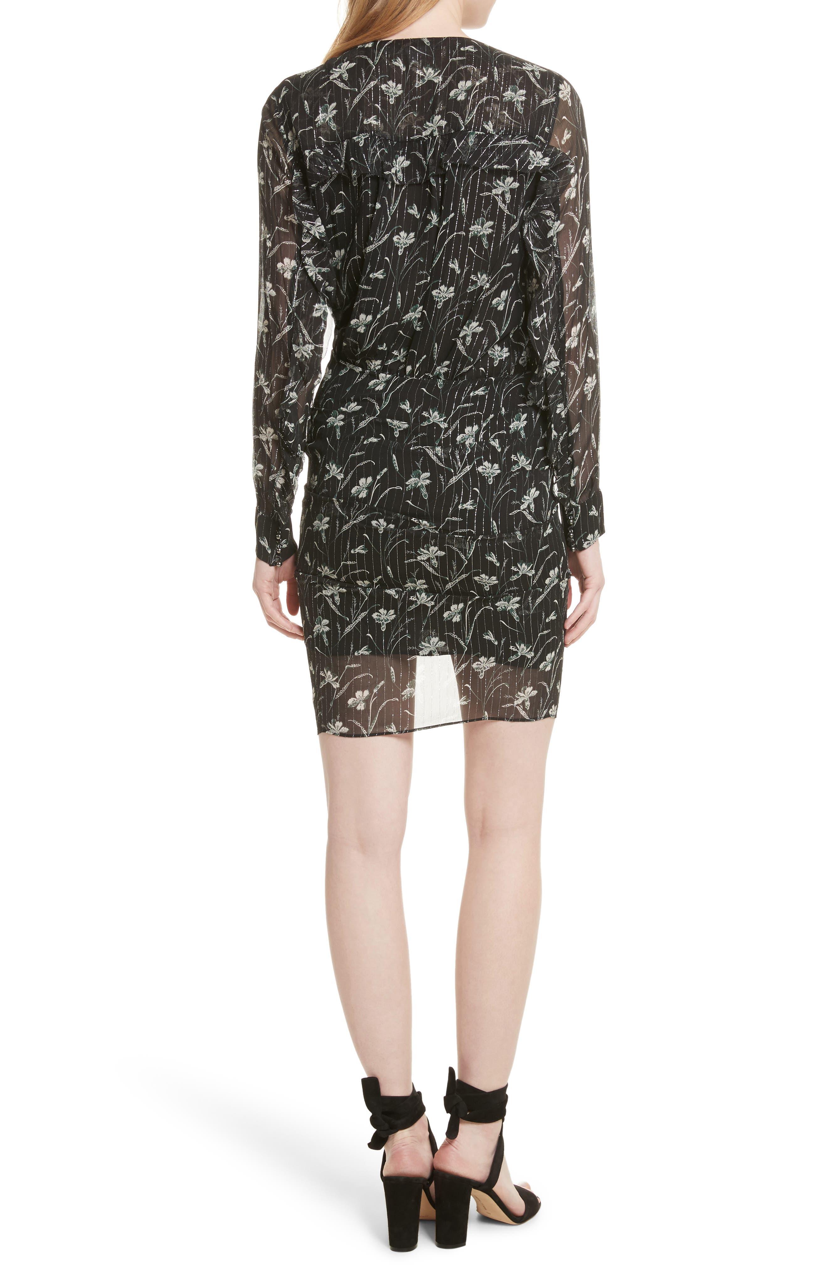 Fitzgerald Floral Print Metallic Chiffon Dress,                             Alternate thumbnail 2, color,                             Green/ Black