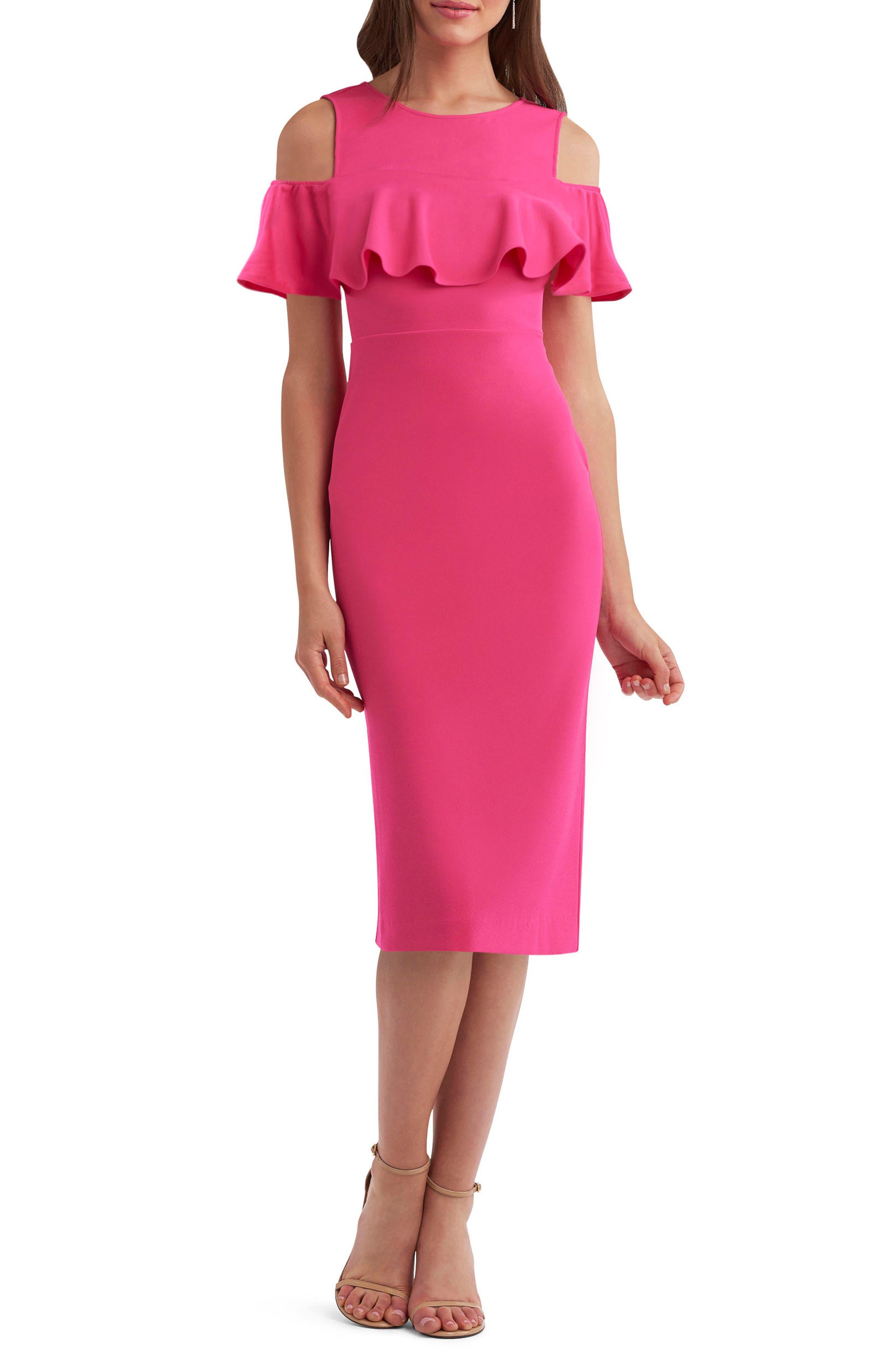 ECI Cold Shoulder Ruffle Sheath Dress