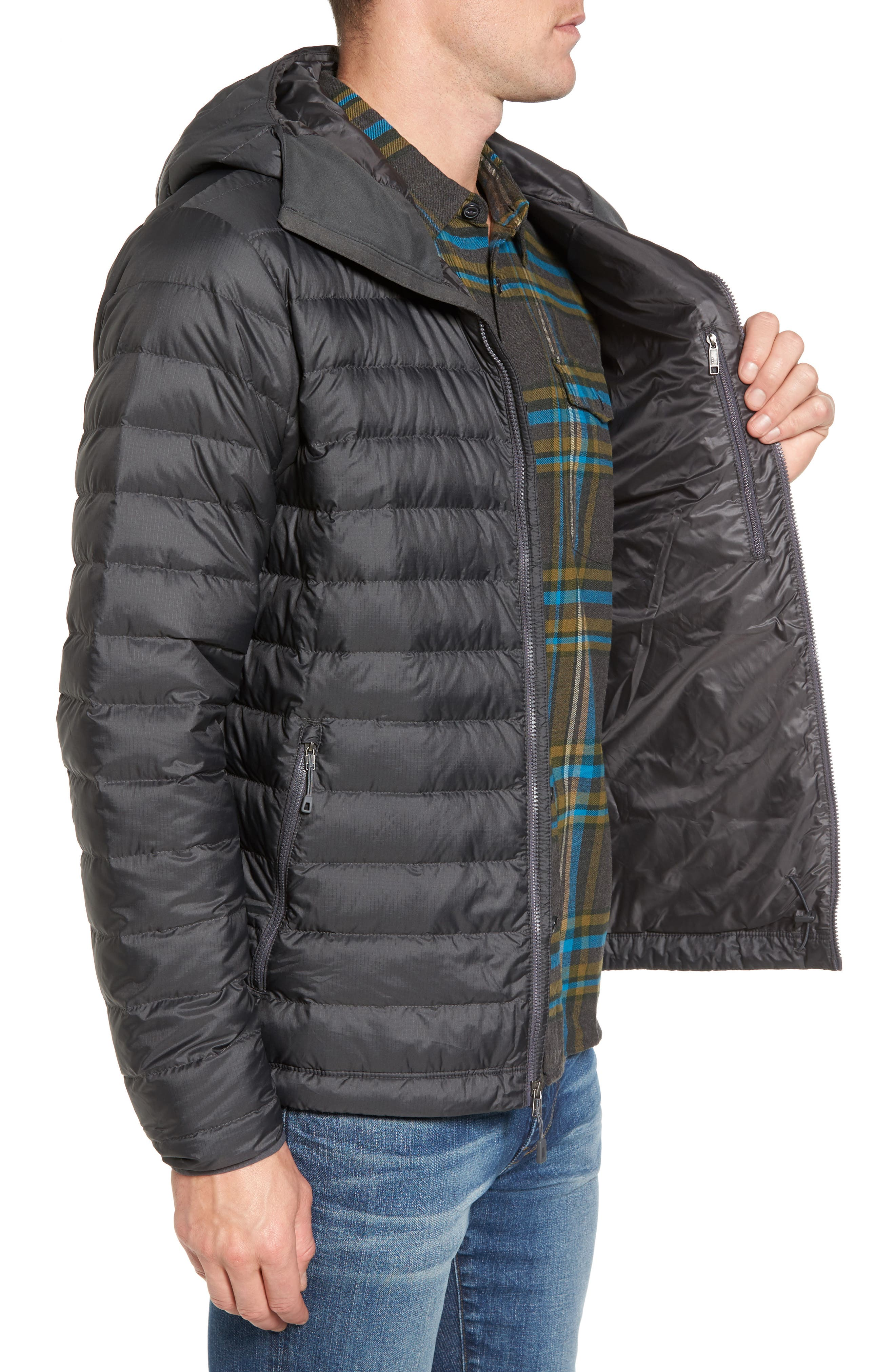 Packable Windproof & Water Resistant Goose Down Sweater Hooded Jacket,                             Alternate thumbnail 3, color,                             Forge Grey