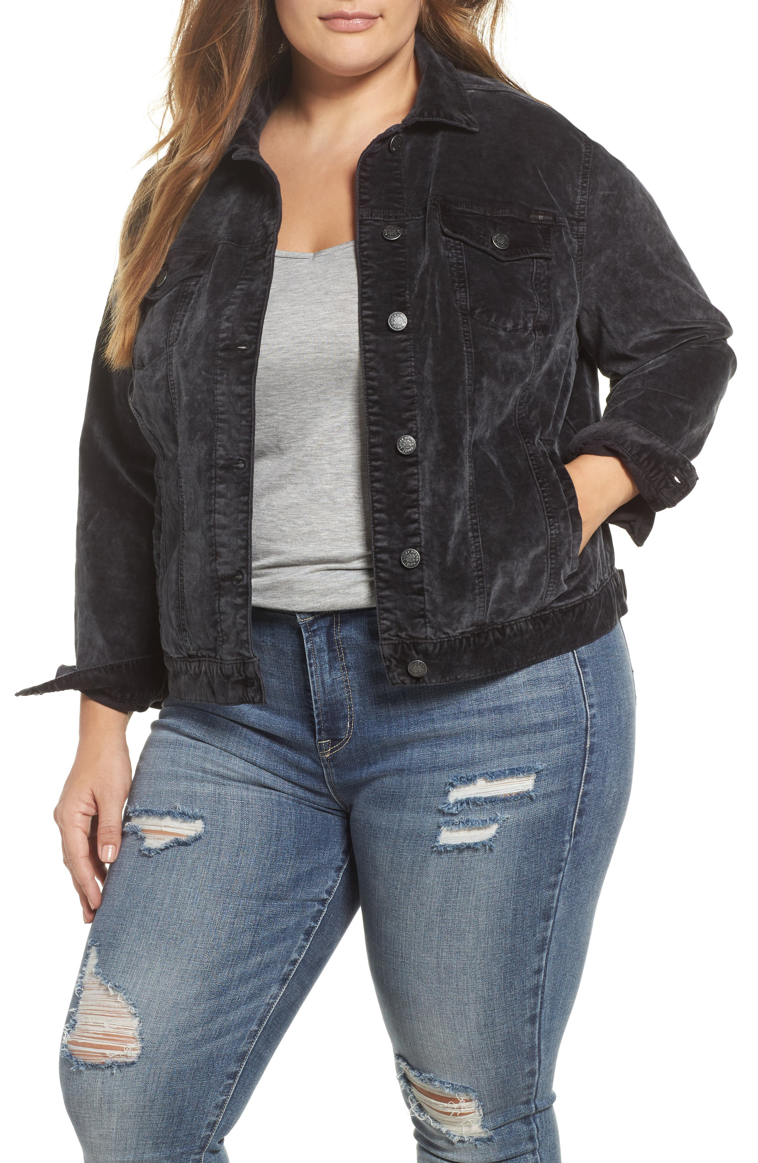 Main Image - Lucky Brand Tomboy Trucker Jacket (Parkman) (Plus Size)