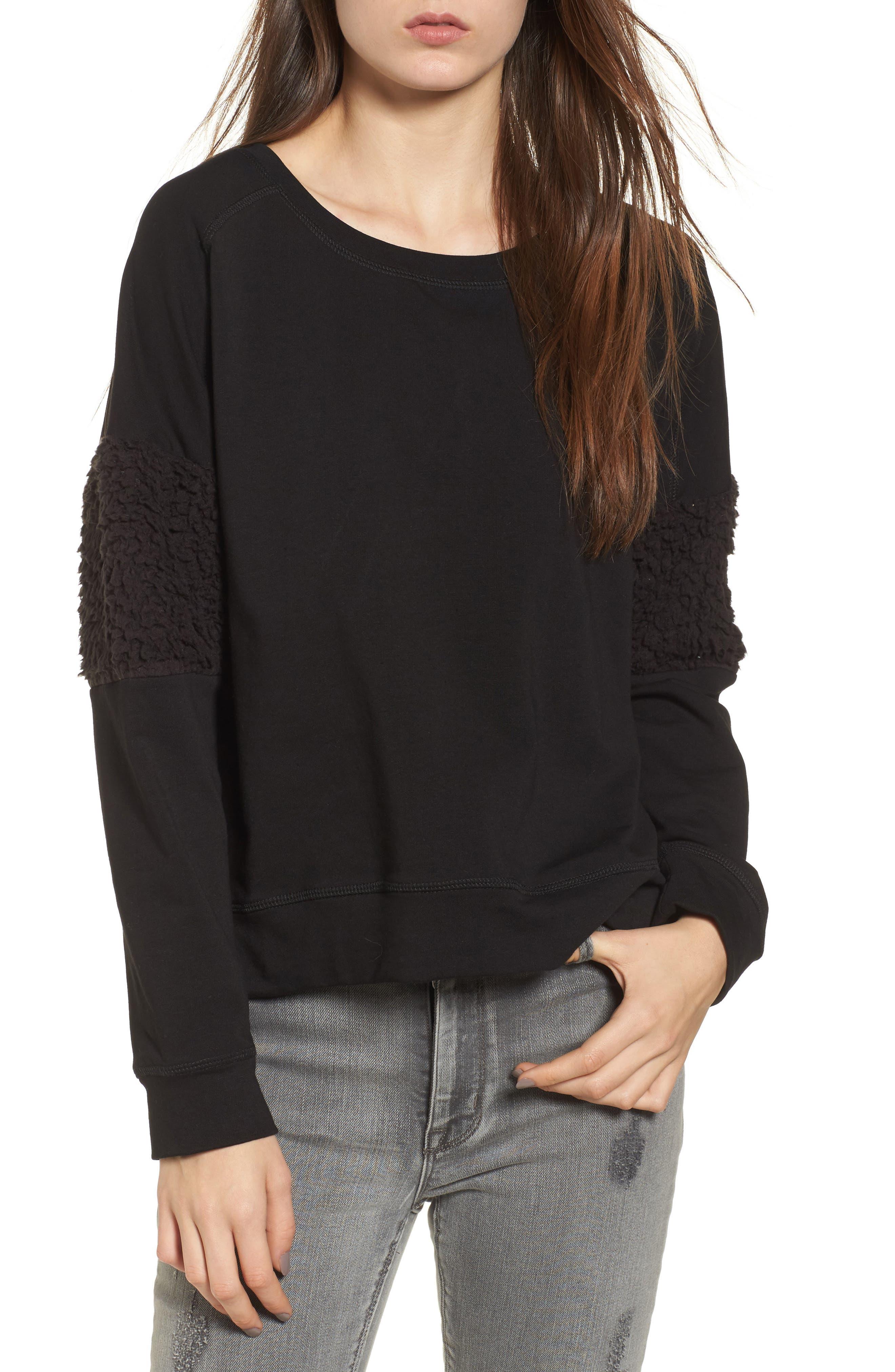 Fleece Panel Sweatshirt,                             Main thumbnail 1, color,                             Black