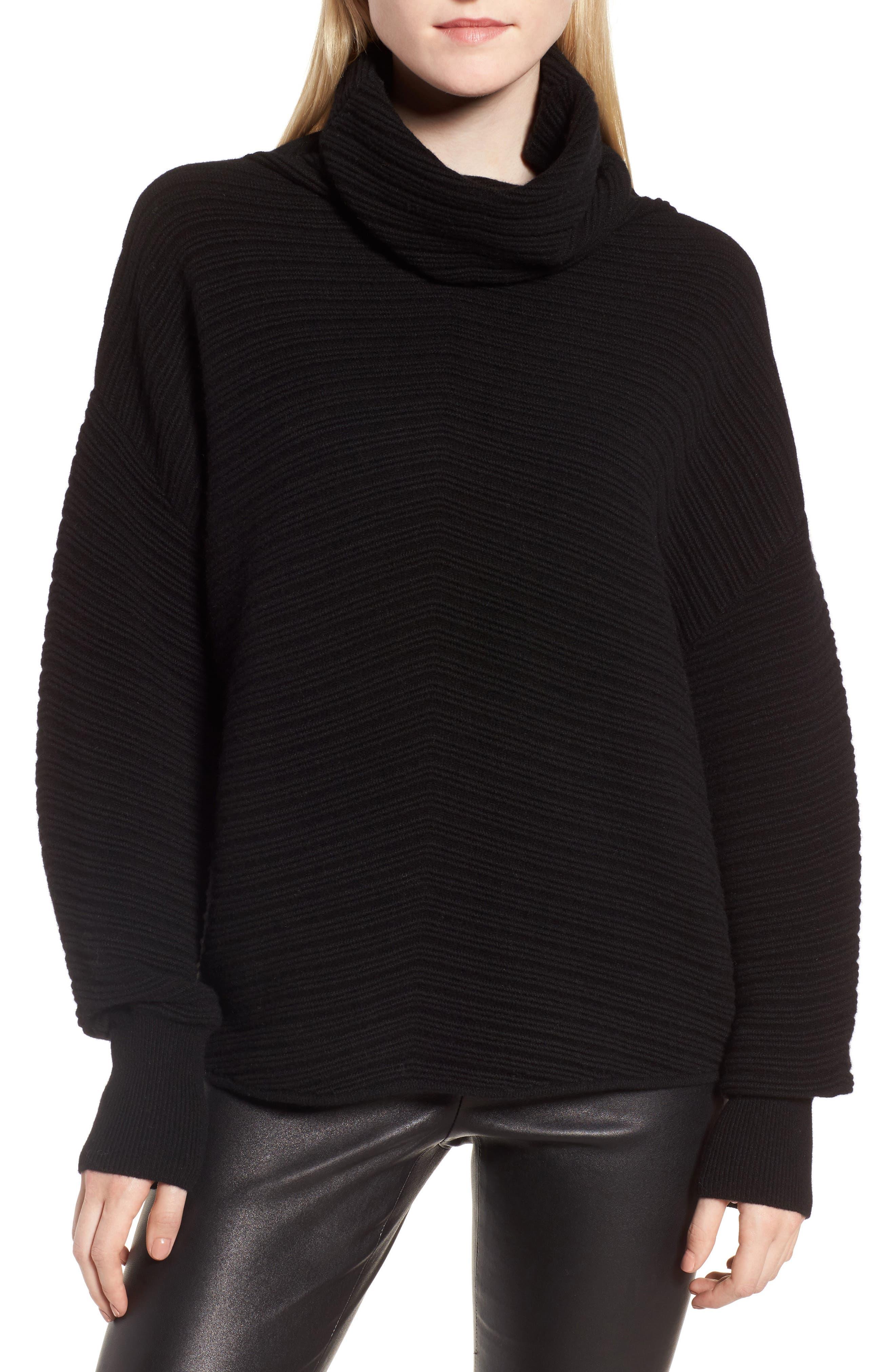 Scrunch Neck Ottoman Knit Cashmere Sweater,                             Main thumbnail 1, color,                             Black