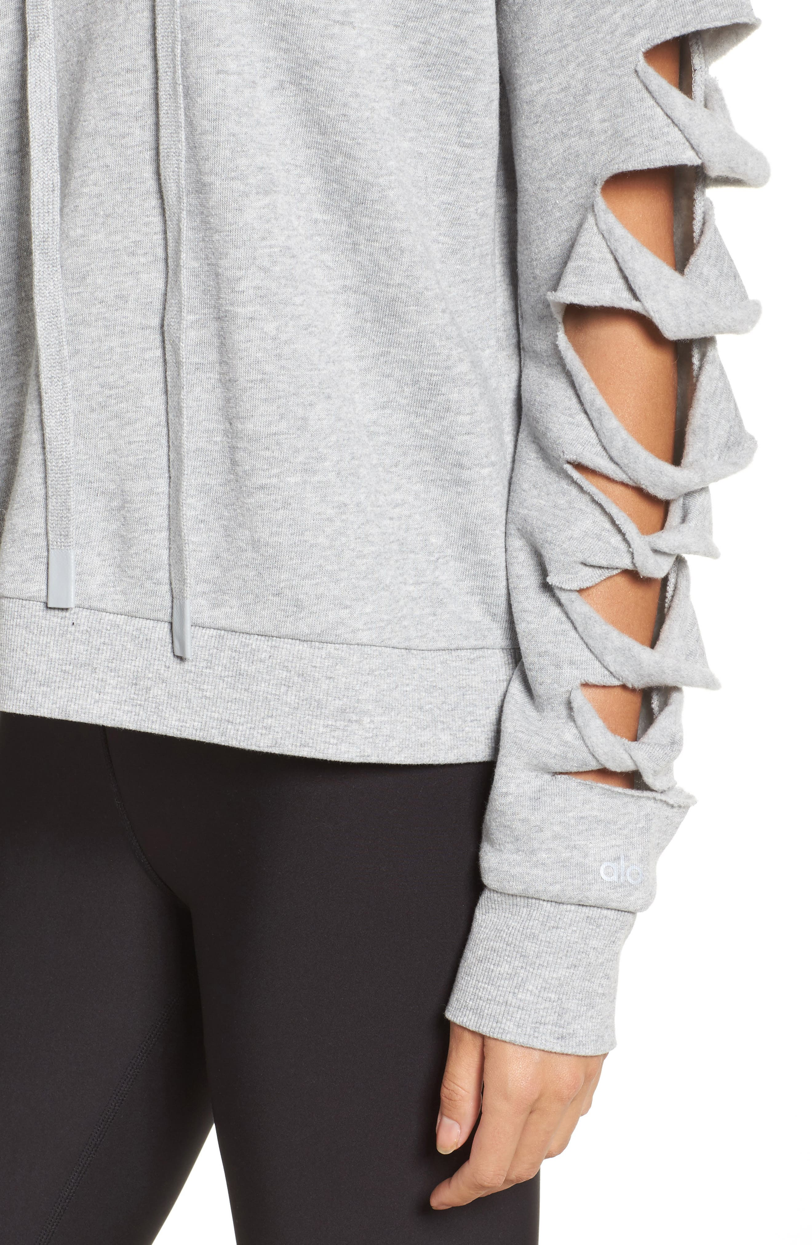 Slay Slashed Long Sleeve Hoodie,                             Alternate thumbnail 4, color,                             Dove Grey Heather
