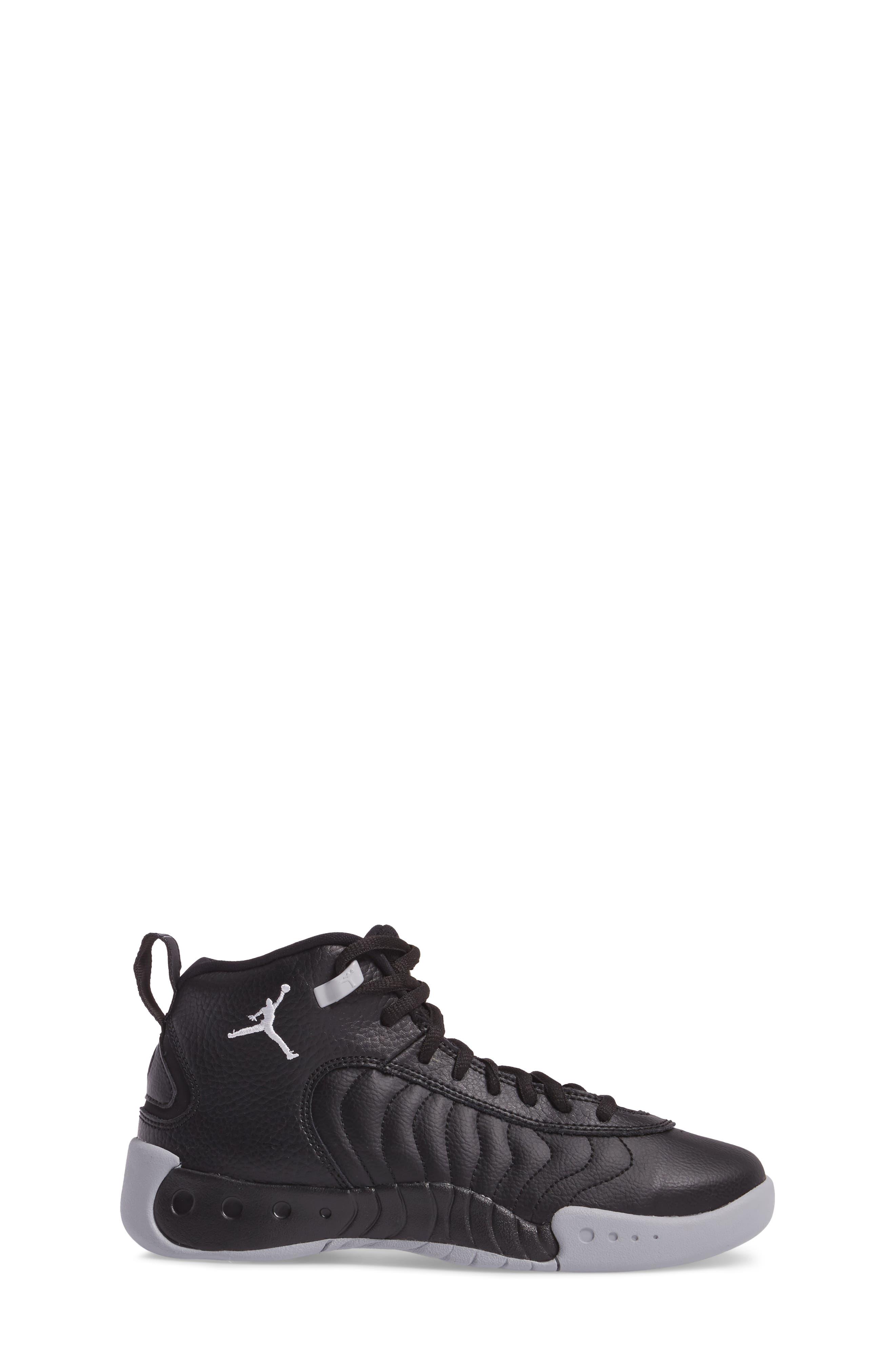 Jumpman Pro BG Mid Top Sneaker,                             Alternate thumbnail 3, color,                             Black/ White-Wolf Grey