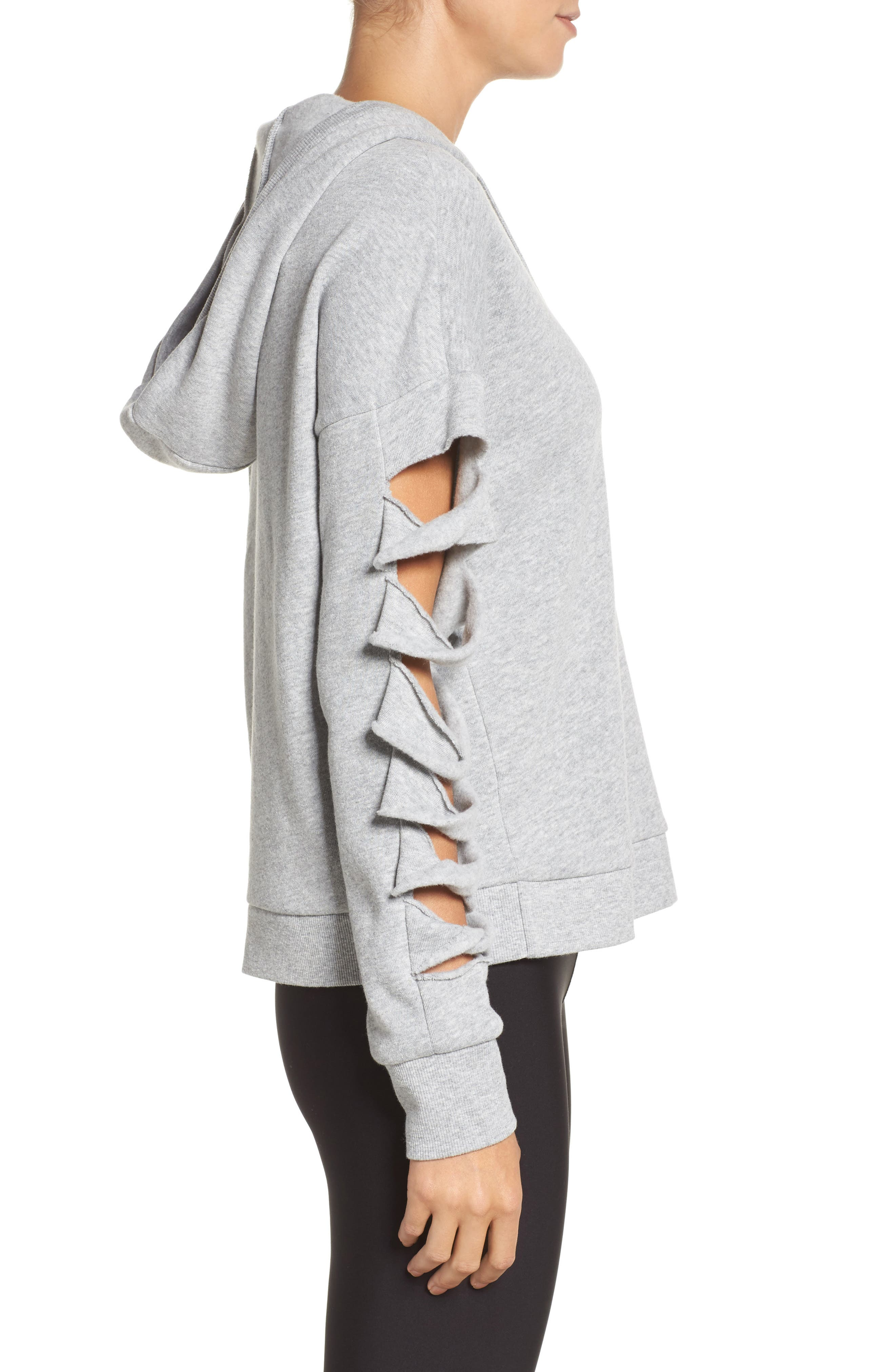 Slay Slashed Long Sleeve Hoodie,                             Alternate thumbnail 3, color,                             Dove Grey Heather