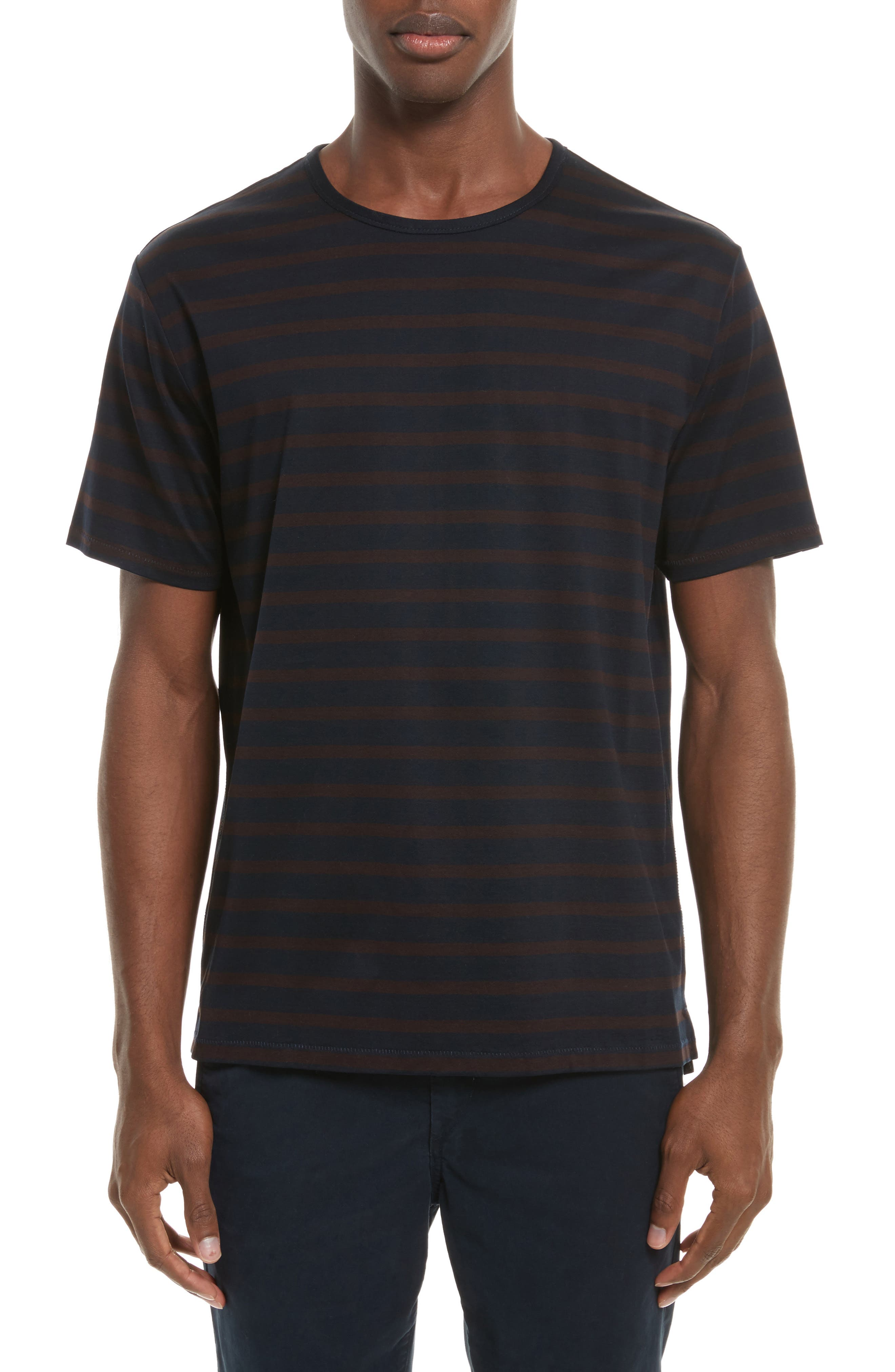 Henry Stripe T-Shirt,                         Main,                         color, Navy/ Chocolate