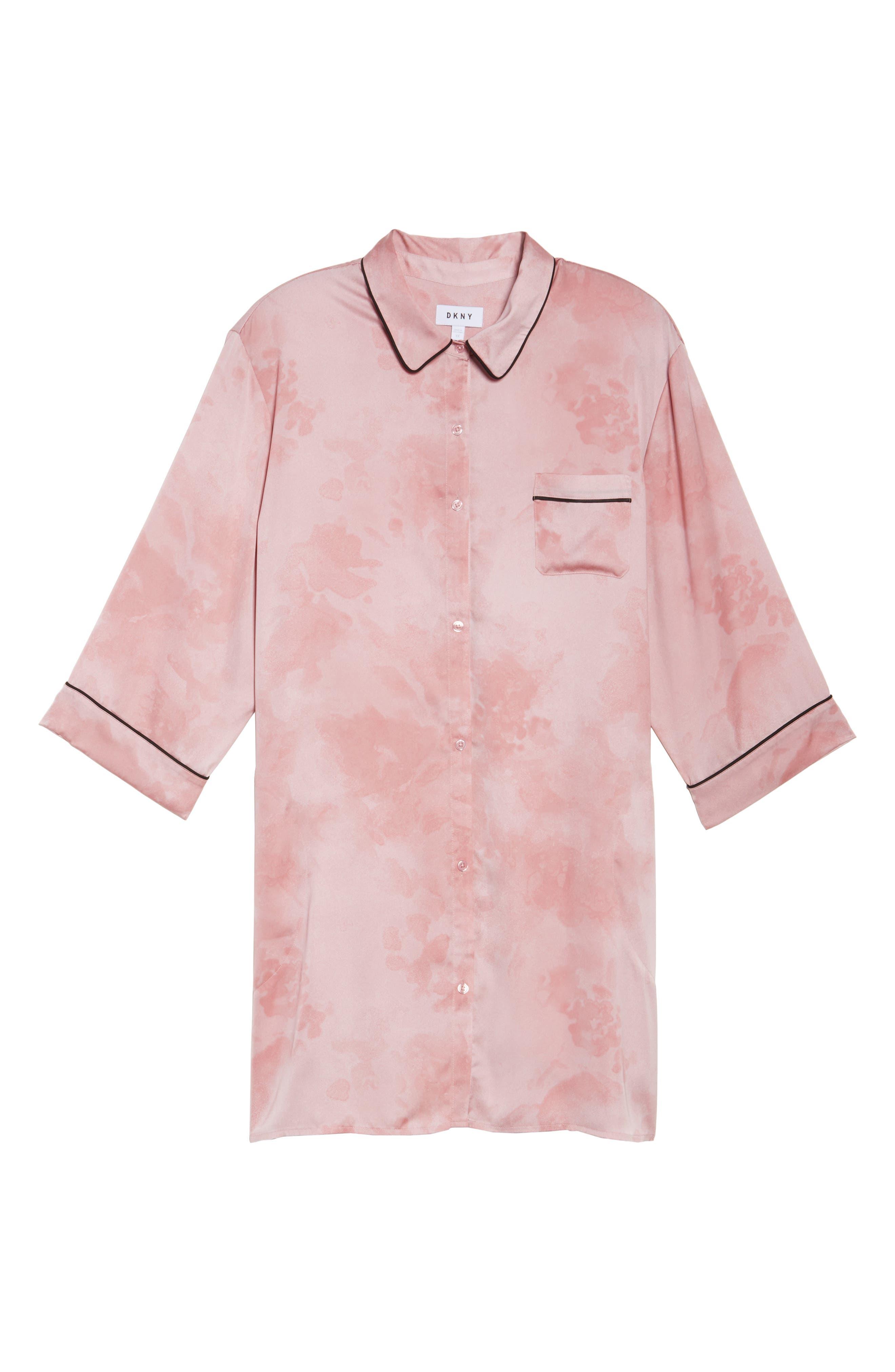 Washed Satin Sleep Shirt,                             Alternate thumbnail 5, color,                             Pink Floral