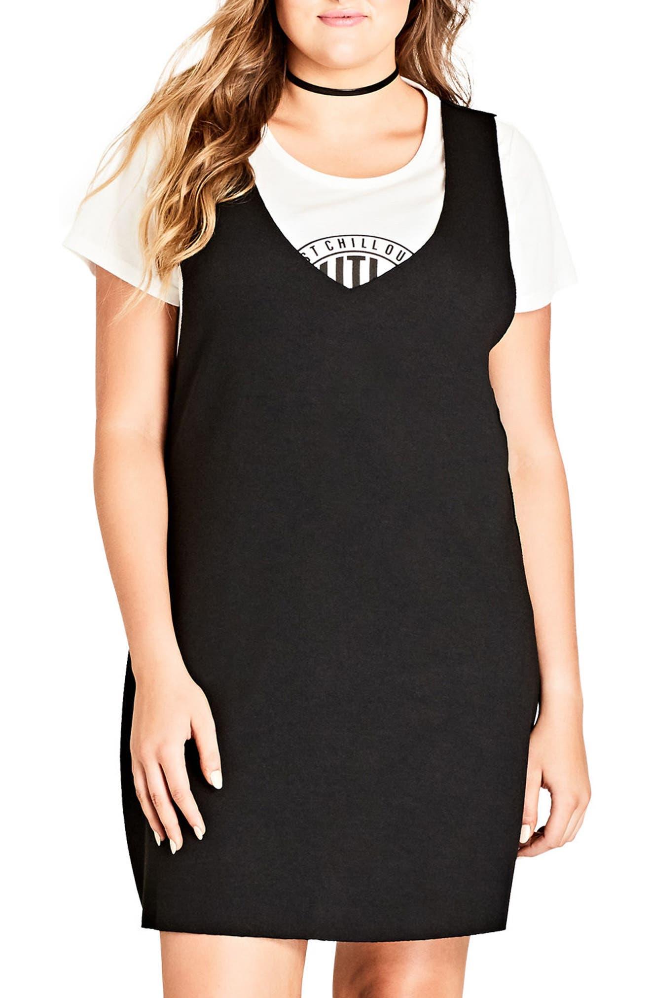 Main Image - City Chic Grunge Girl Dress (Plus Size)