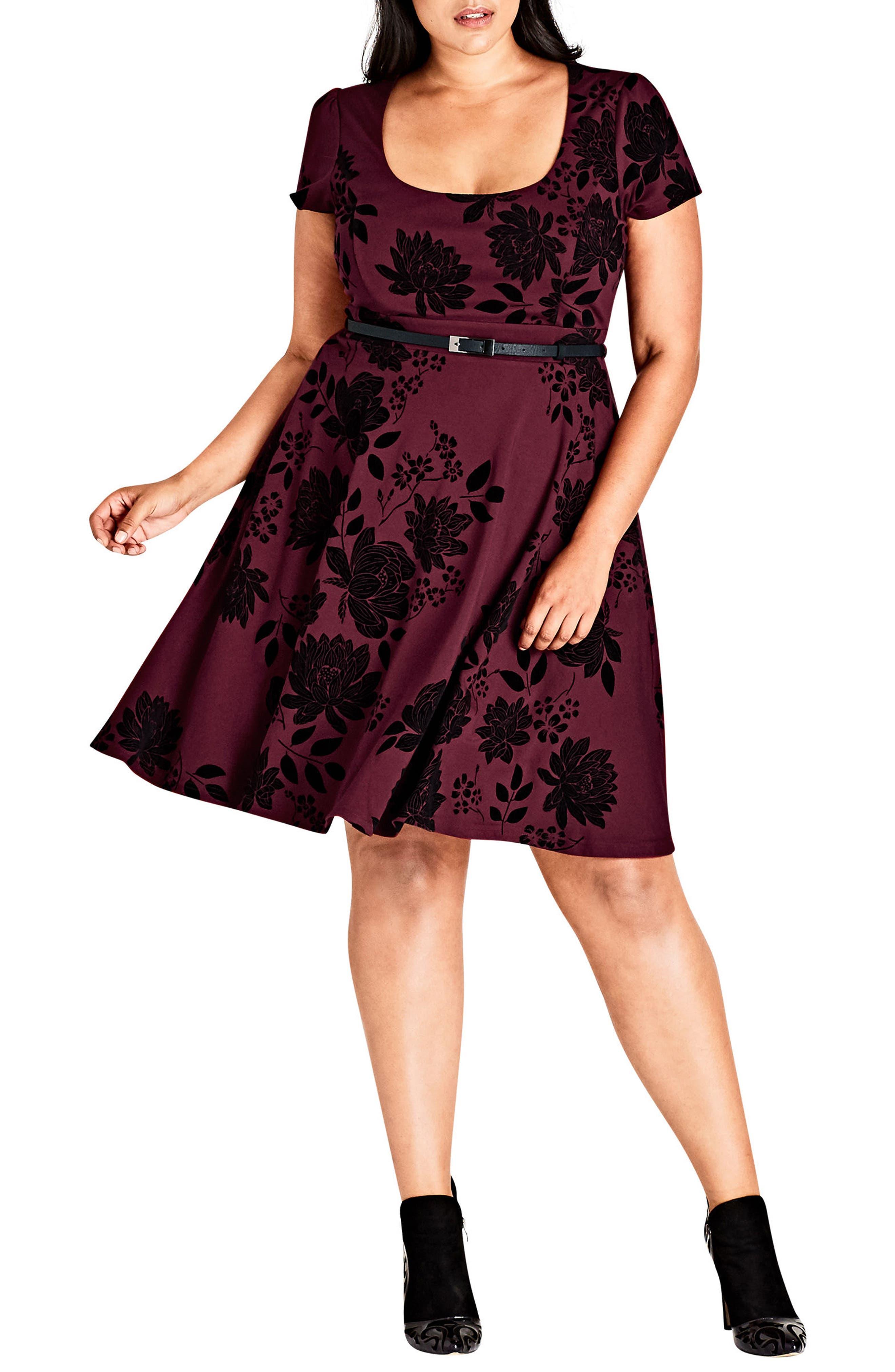Belted Flock Floral Dress,                         Main,                         color, Ruby