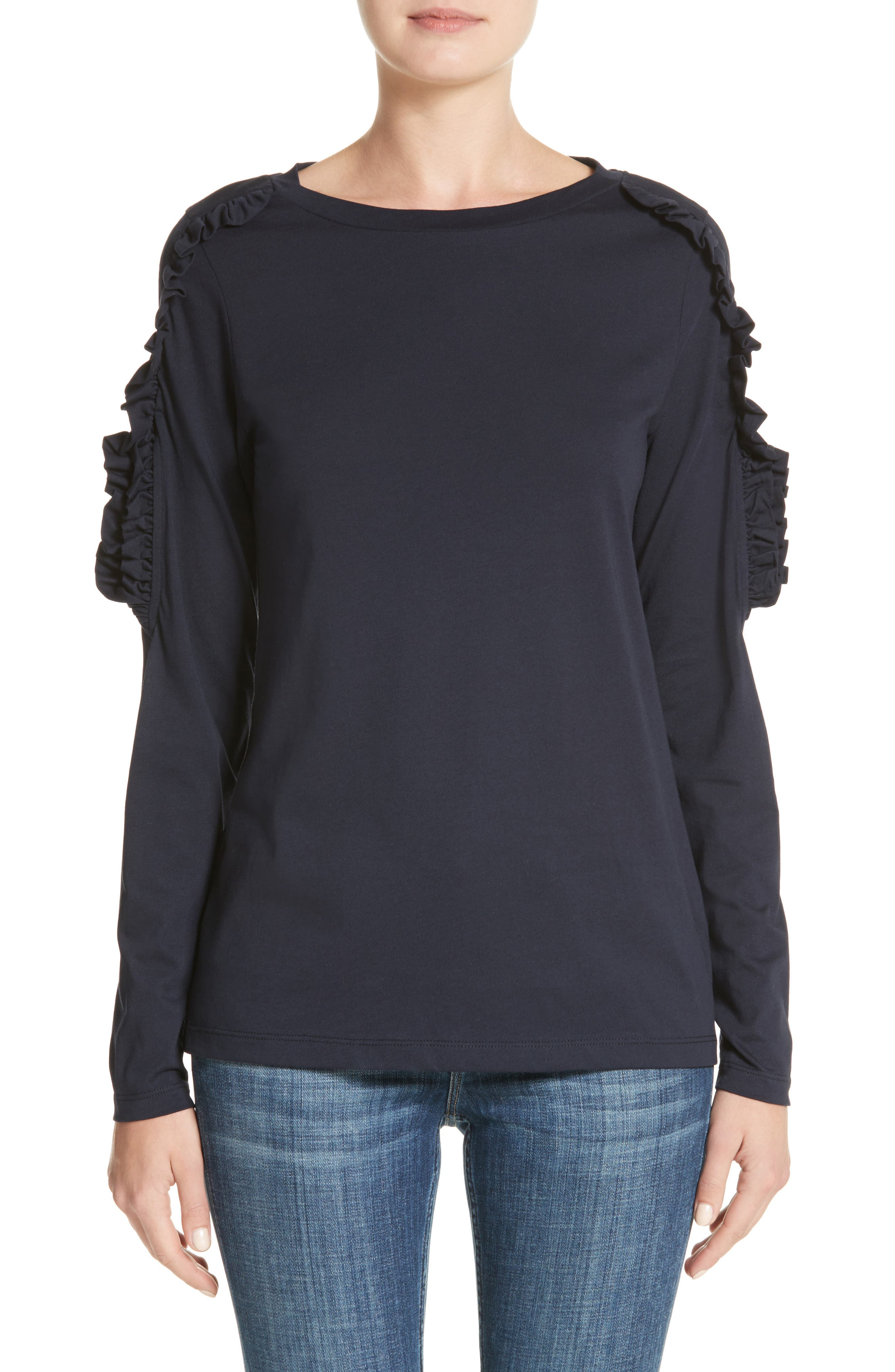 Alternate Image 1 Selected - Burberry Uima Ruffle Cotton Top