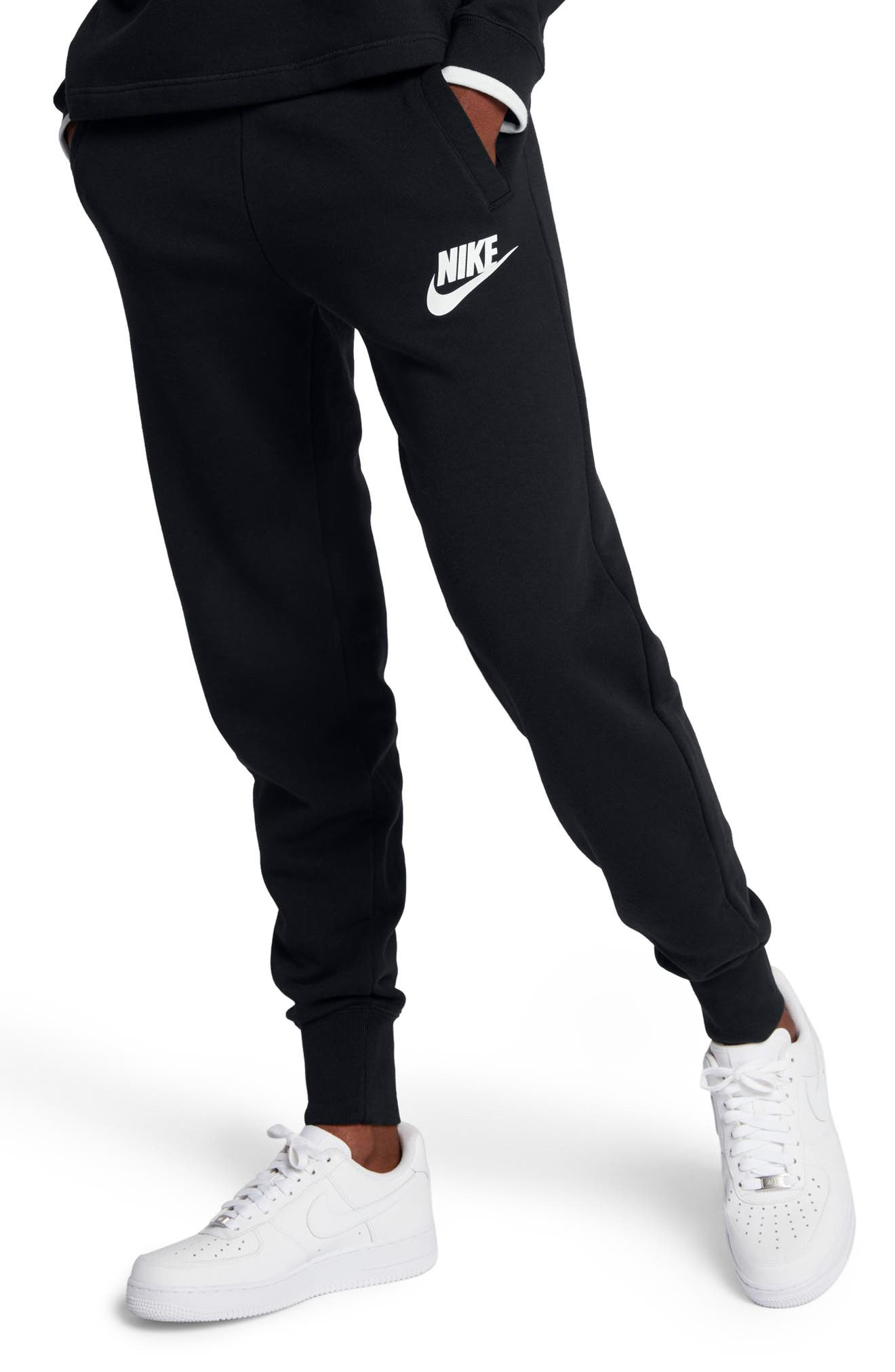 Sportswear Rally Fleece Pants,                             Alternate thumbnail 3, color,                             Black/ Black/ White