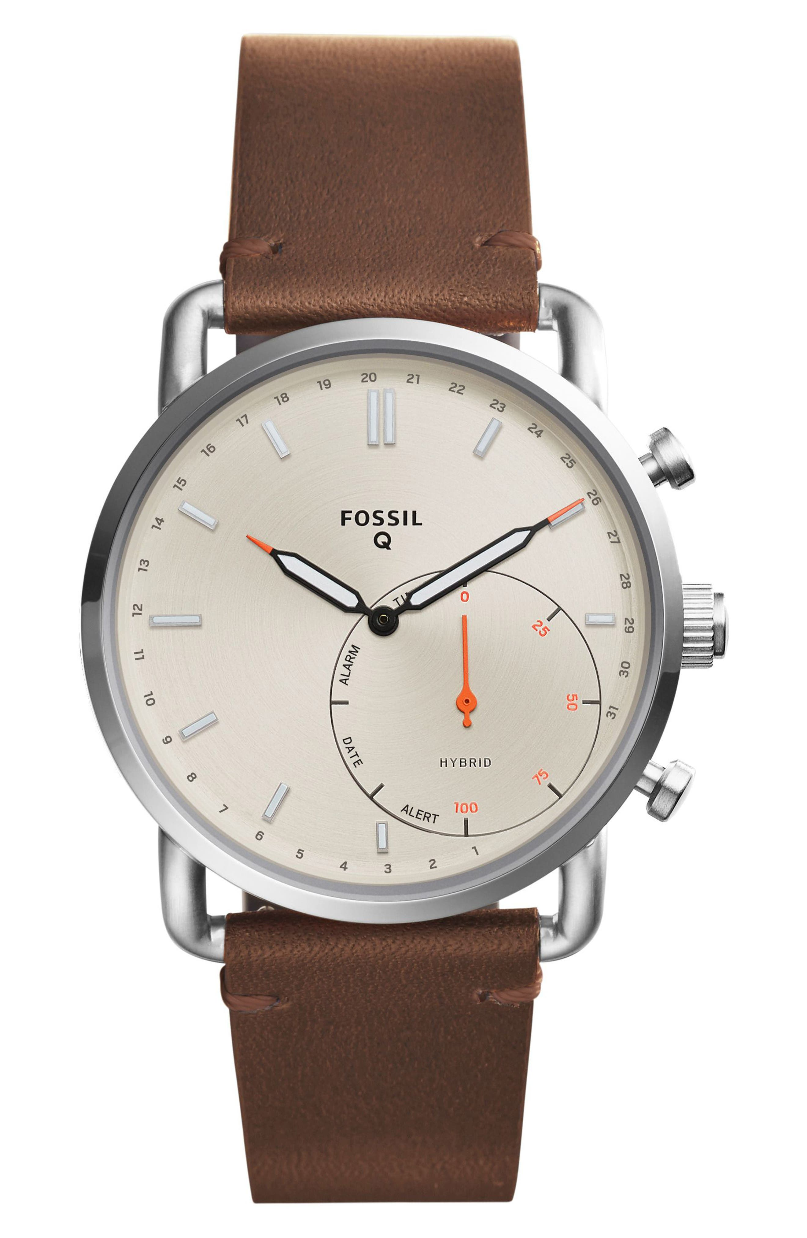 Commuter Leather Strap Hybrid Smart Watch, 42mm,                         Main,                         color, Brown/ Beige/ Silver
