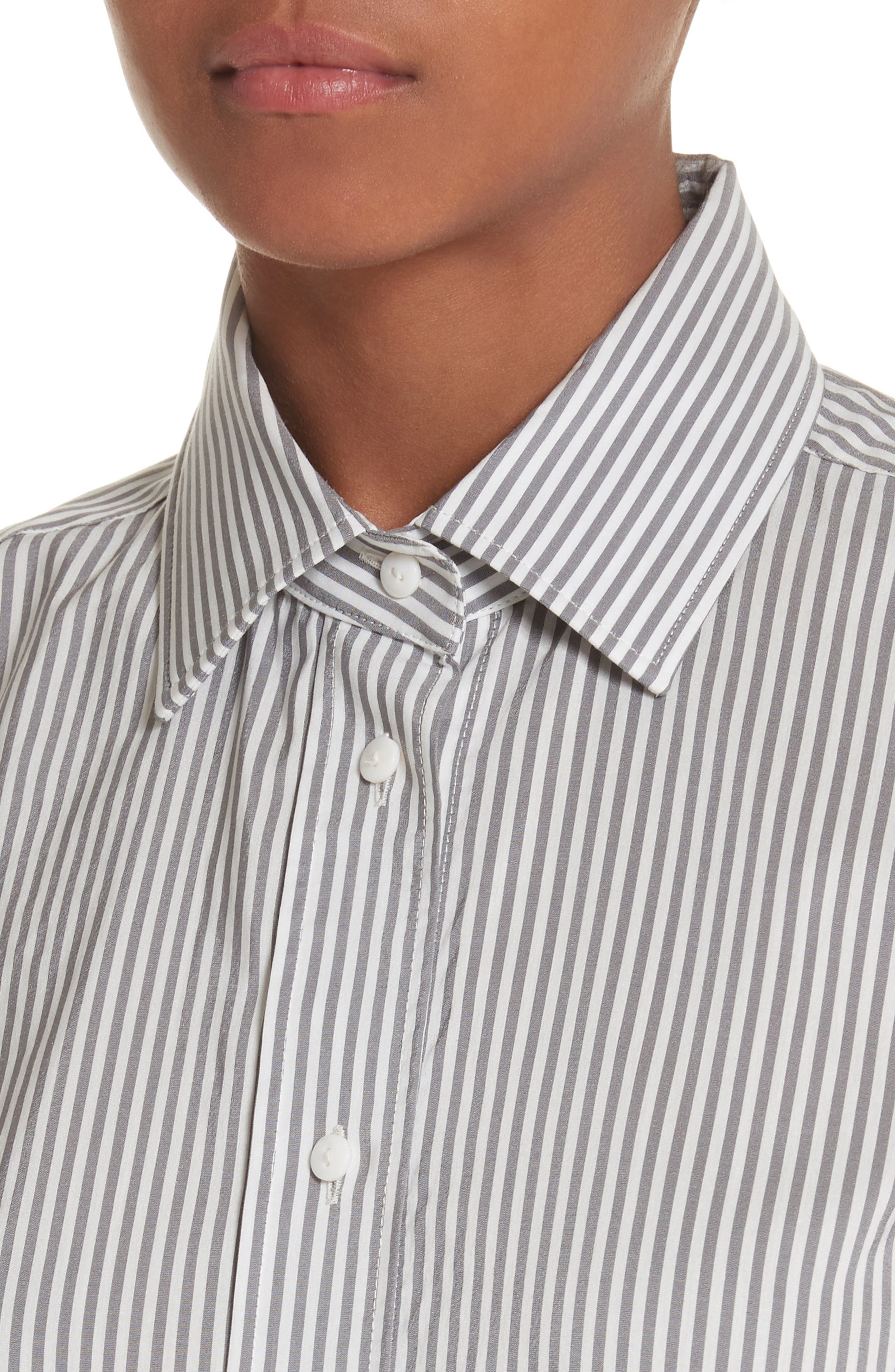 Filato Stripe Cotton & Silk Shirt,                             Alternate thumbnail 4, color,                             Medium Grey