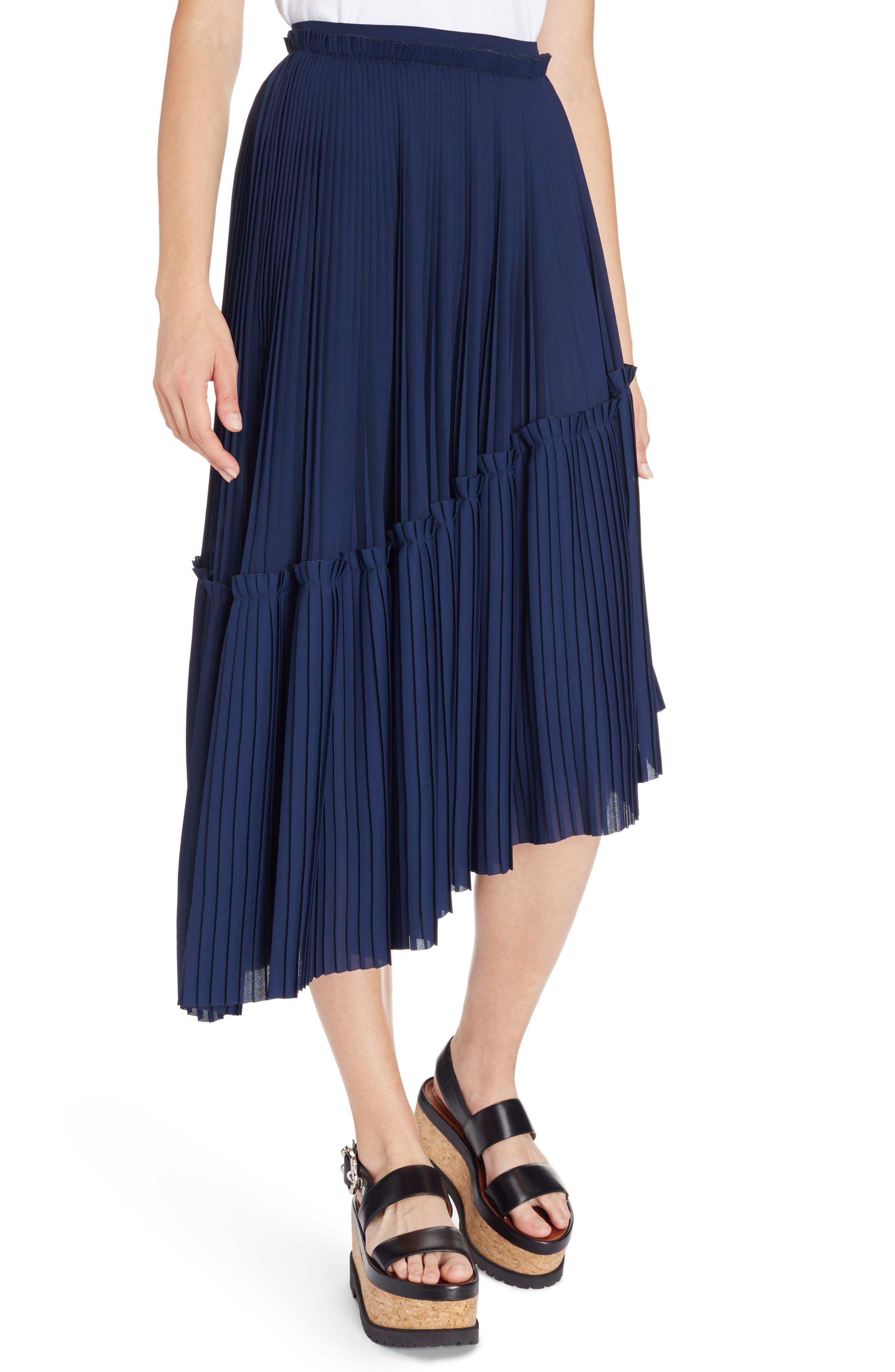 Asymmetrical Pleated Midi Skirt,                         Main,                         color, Blue