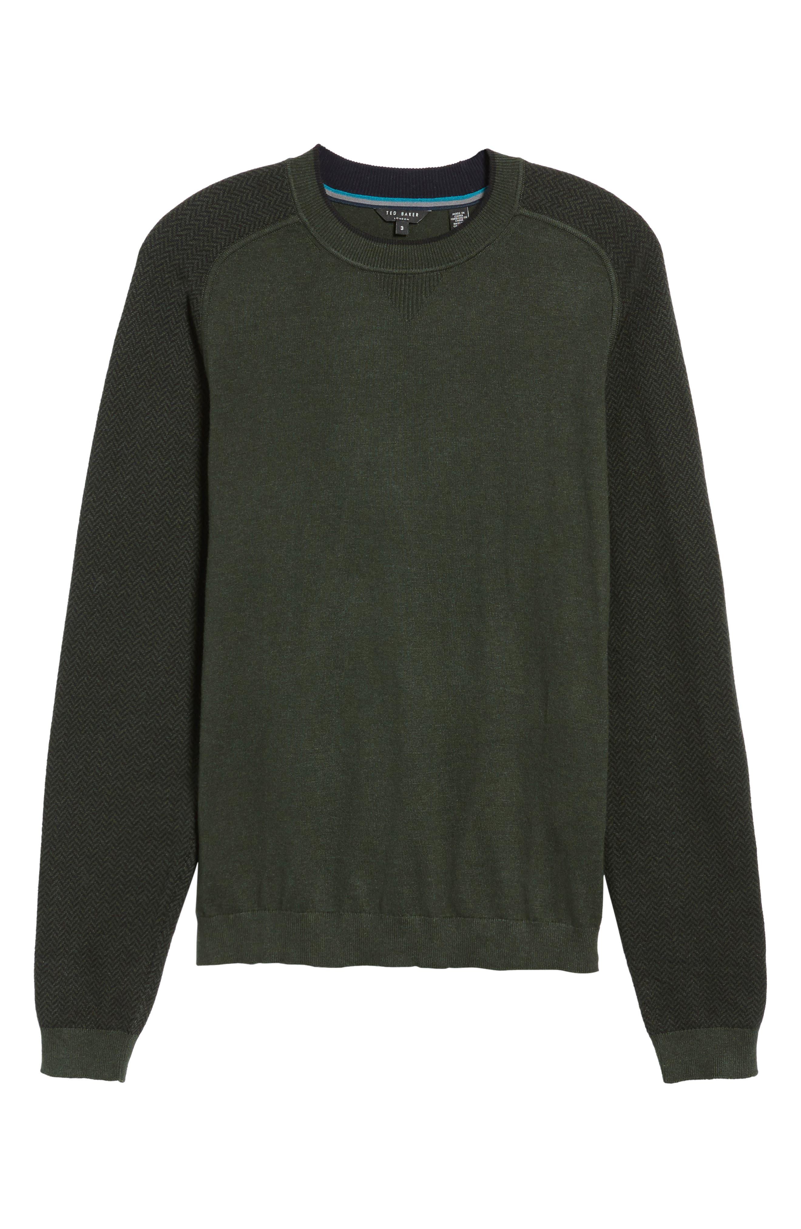 Pepmint Herringbone Sleeve Sweatshirt,                             Alternate thumbnail 6, color,                             Khaki