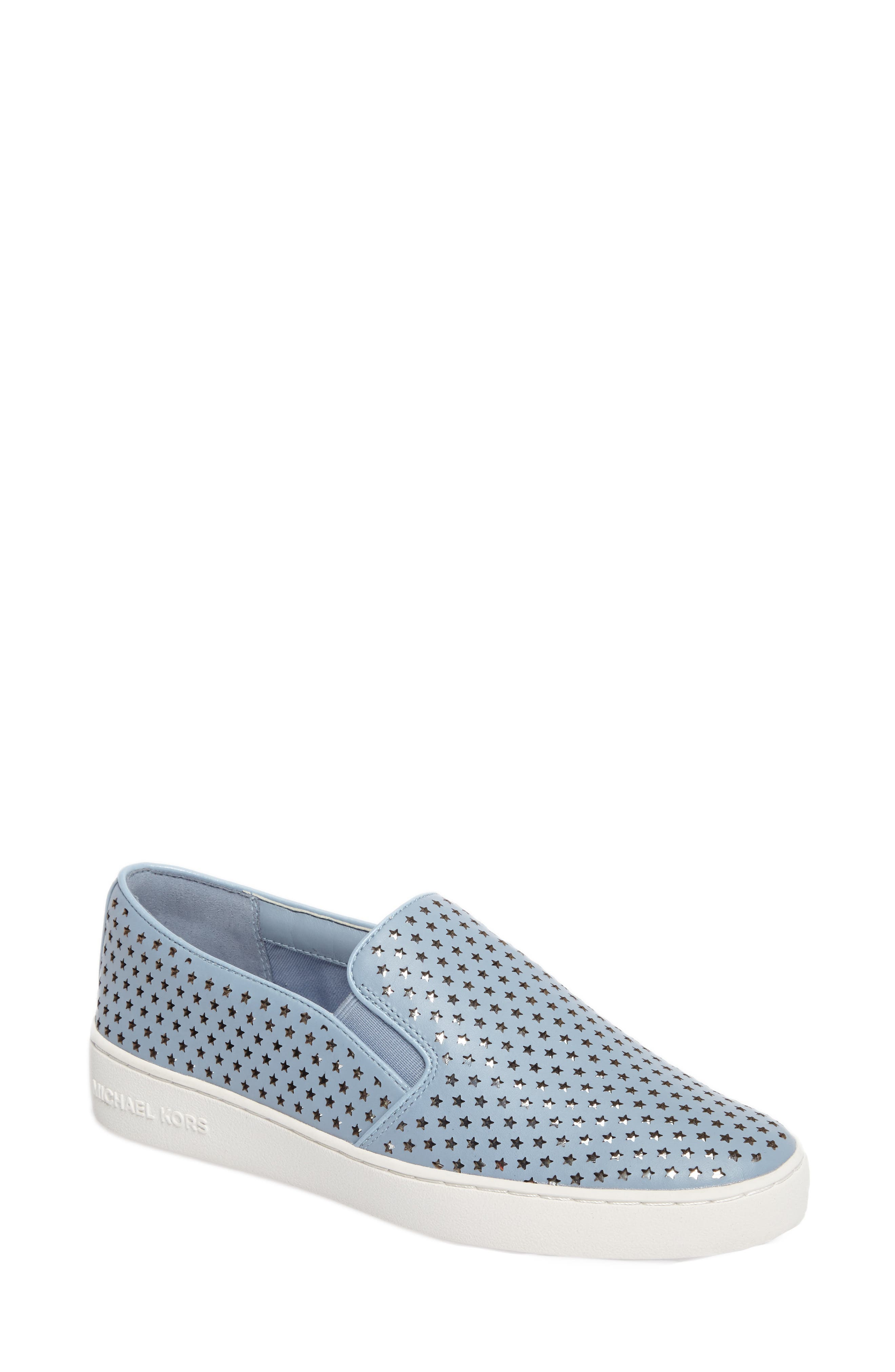 Keaton Slip-On Sneaker,                             Main thumbnail 1, color,                             Pale Blue Perforated Star