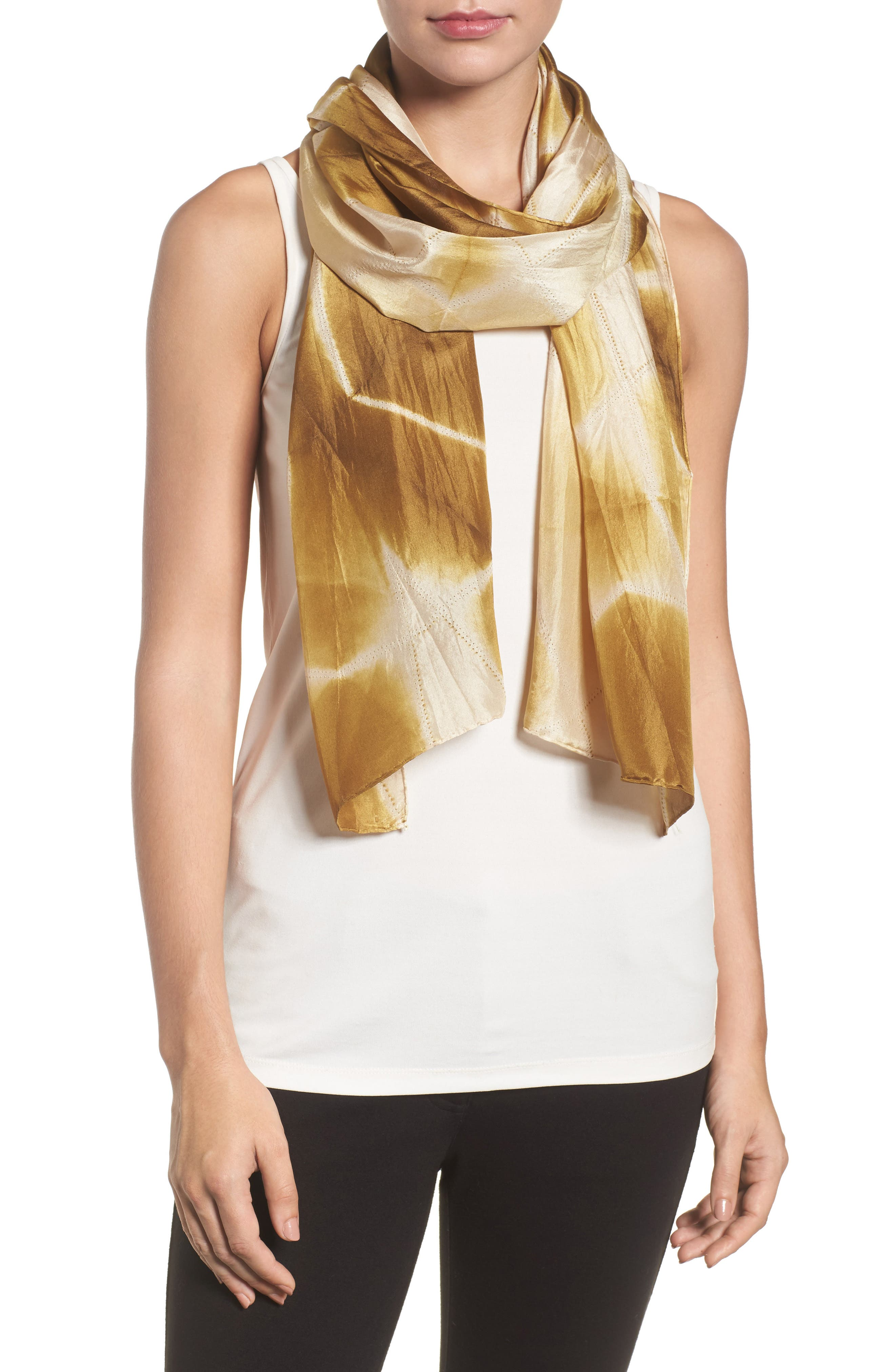 Tie Dye Silk Scarf,                             Main thumbnail 1, color,                             Gold Leaf