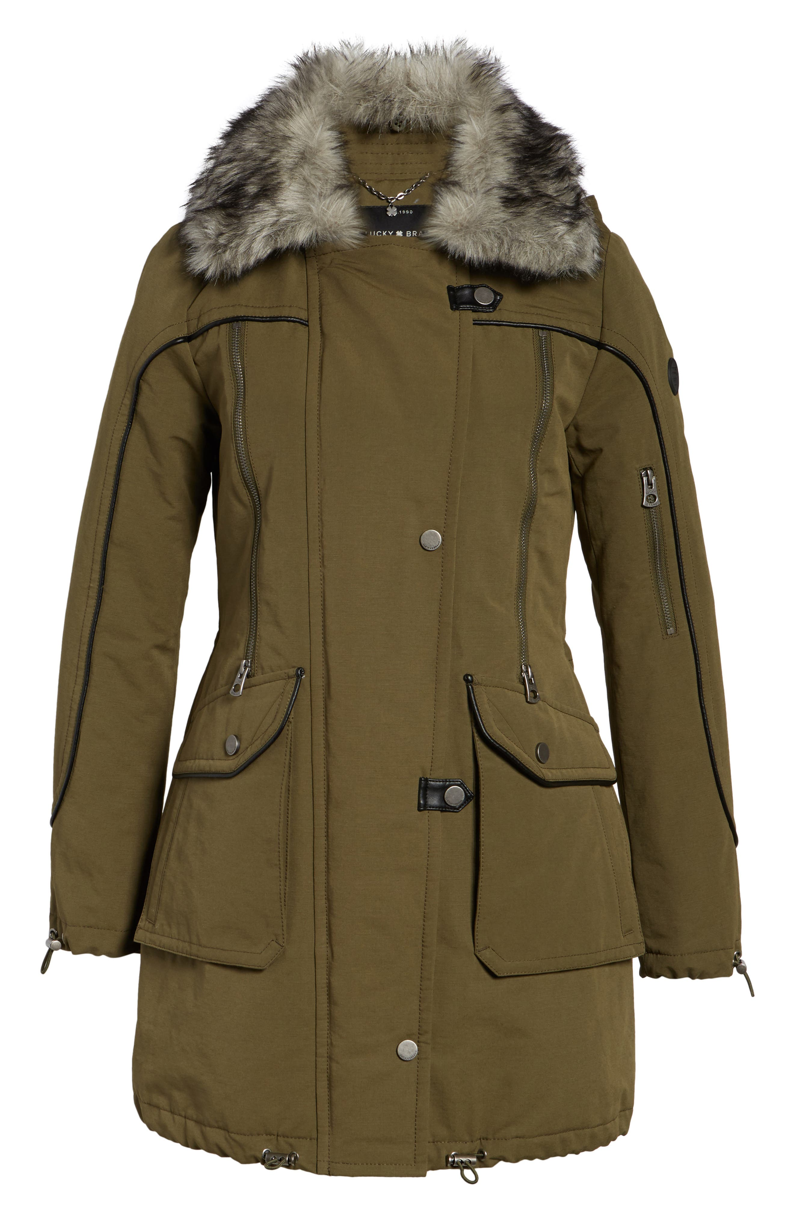 Zip Detail Parka with Faux Fur,                         Main,                         color, Army Green