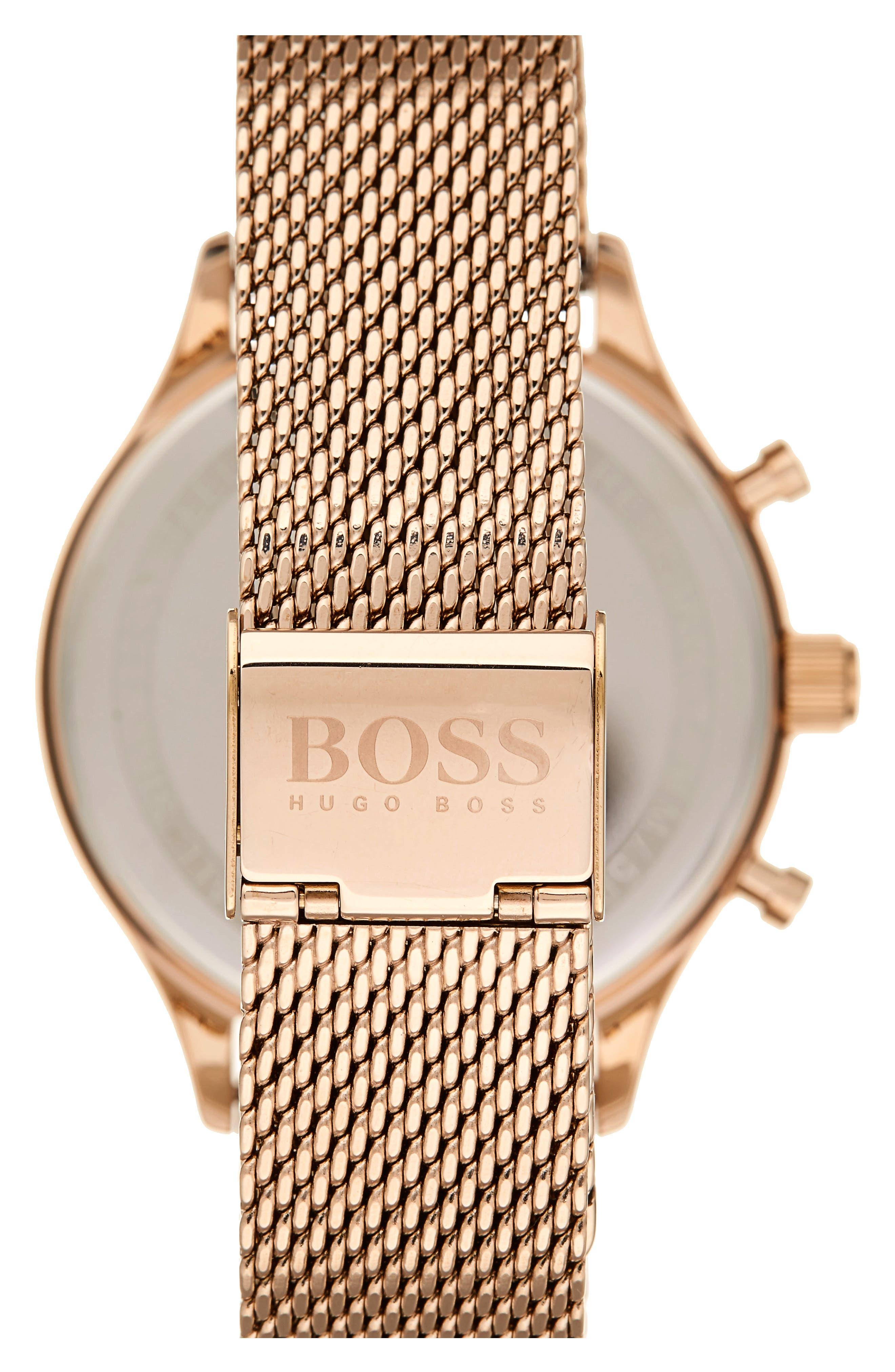 Companion Chronograph Mesh Bracelet Watch, 42mm,                             Alternate thumbnail 2, color,                             Black/ Vintage Gold