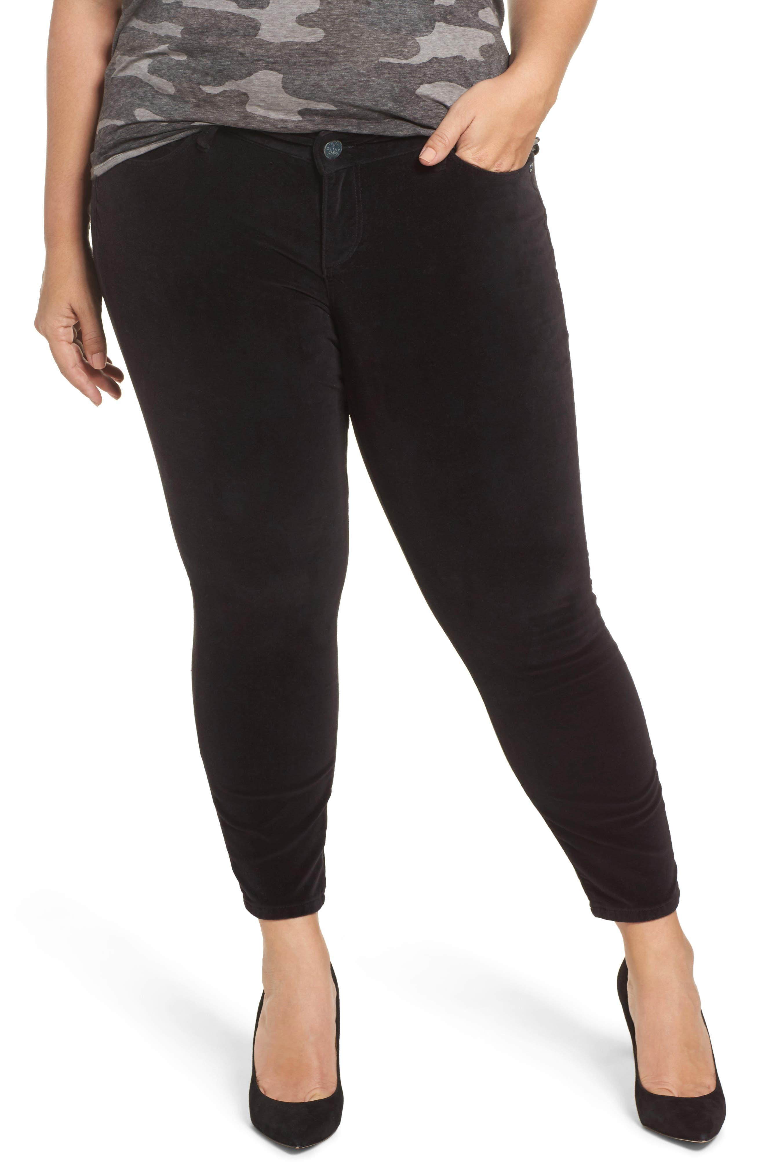 Velvet Skinny Ankle Jeans,                         Main,                         color, Black