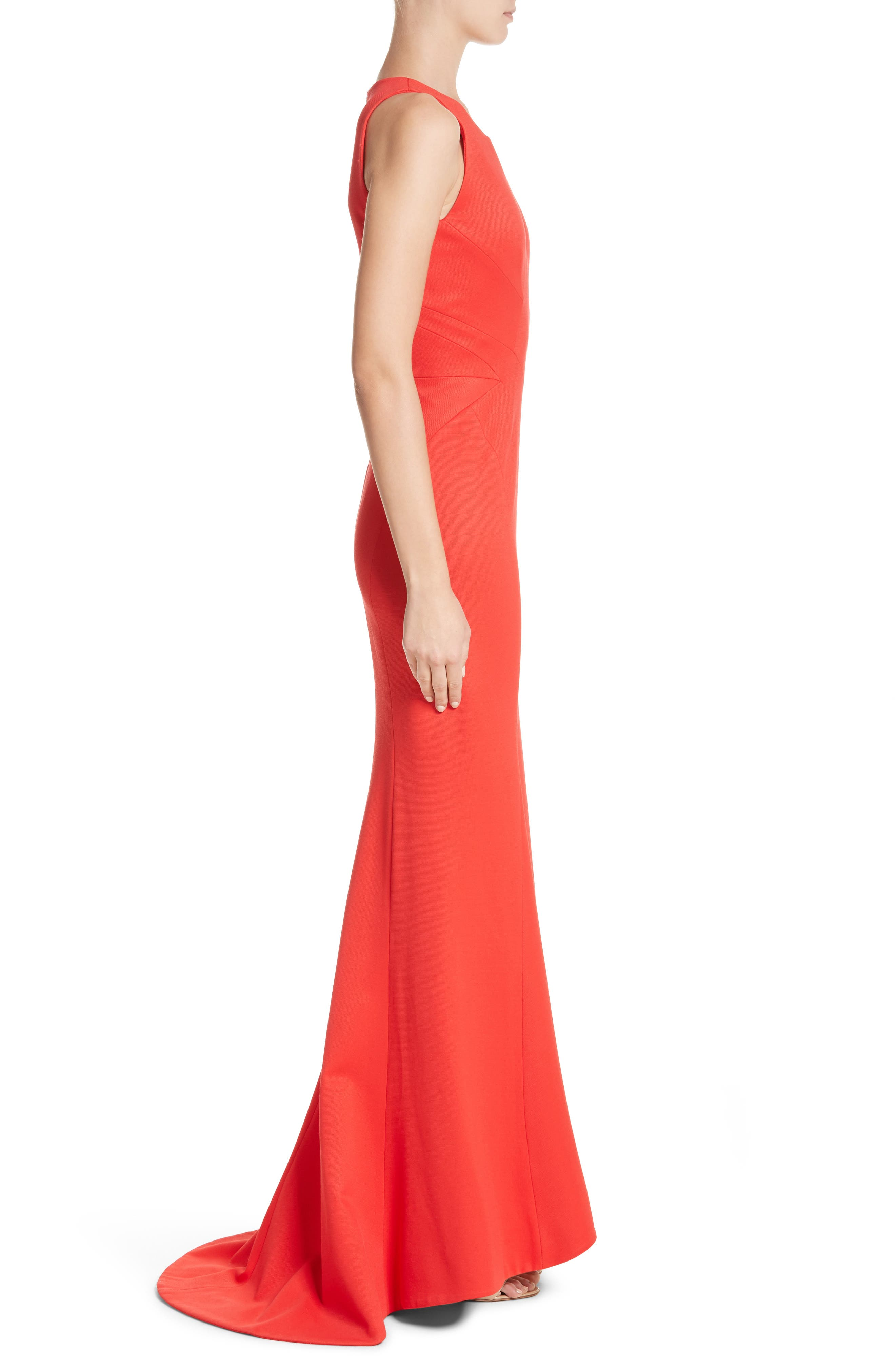Structured Knit Trumpet Gown,                             Alternate thumbnail 3, color,                             Coral