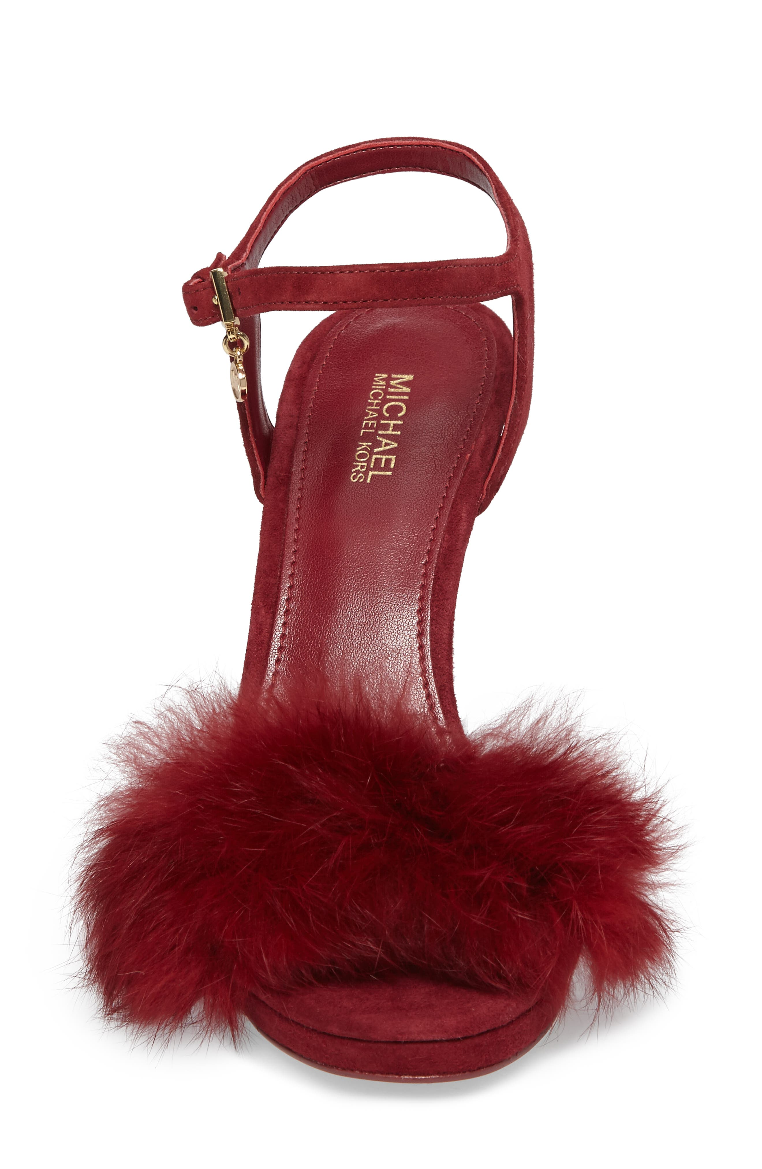 Faye Genuine Rabbit Fur Sandal,                             Alternate thumbnail 4, color,                             Mulberry Suede/ Fur