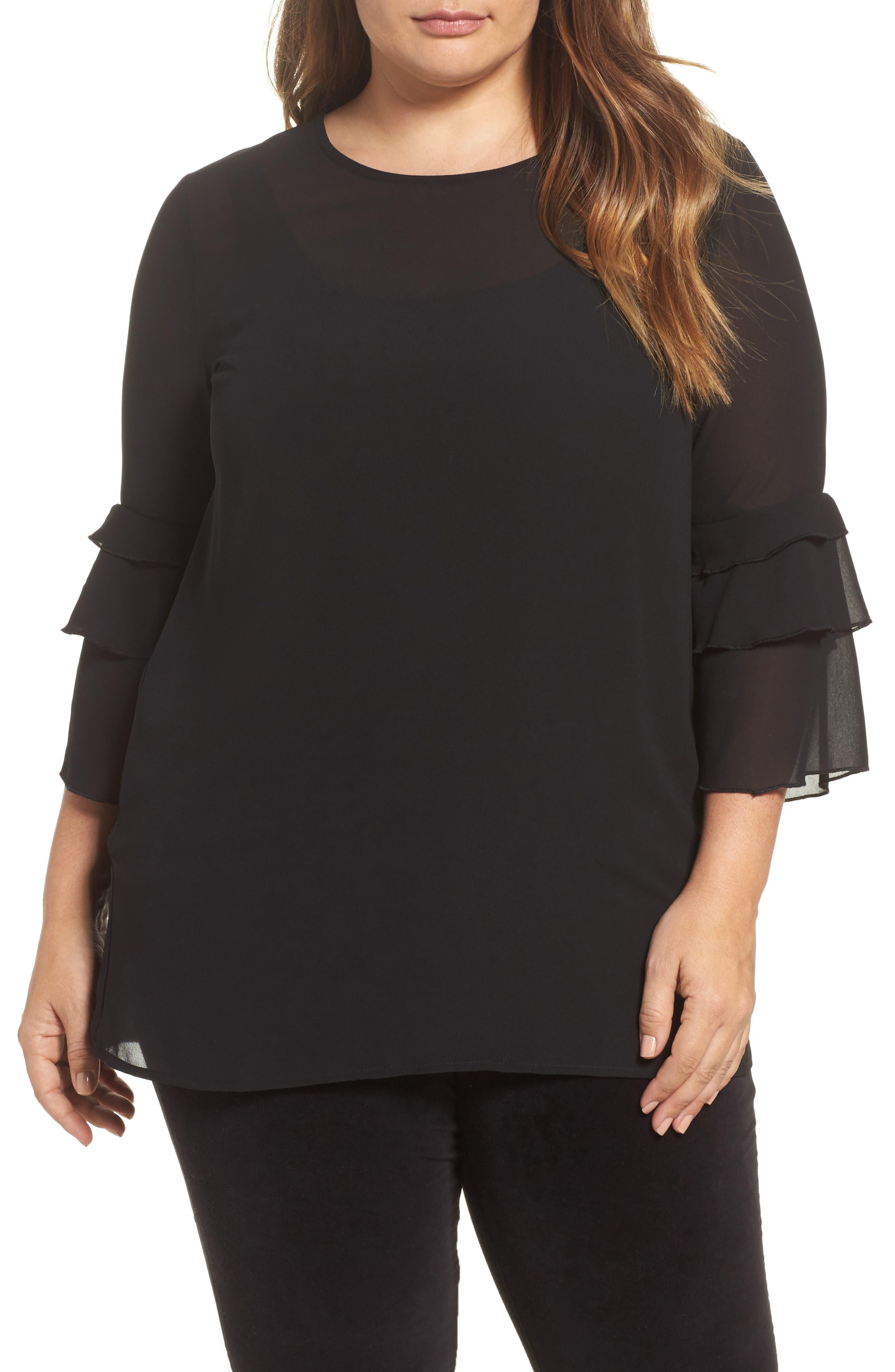 Ruffle Sleeve Blouse,                         Main,                         color, Black