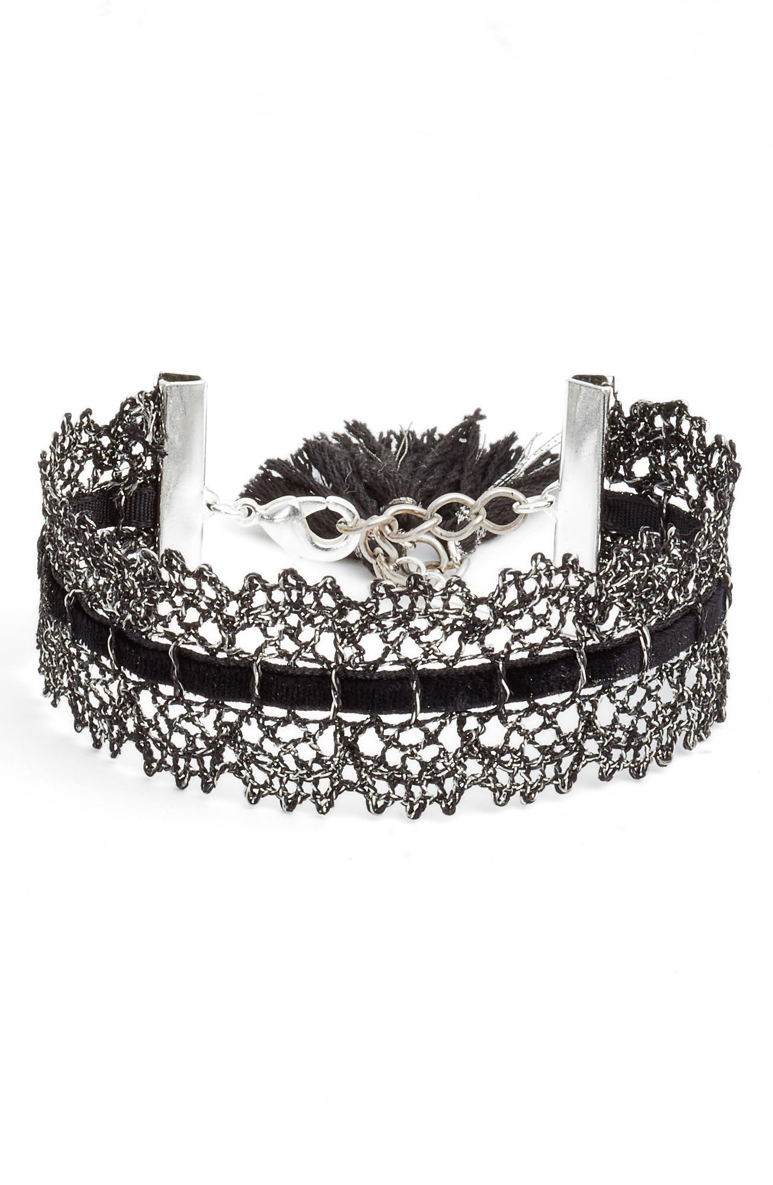 Black Lace Bracelet,                         Main,                         color, Black Mix