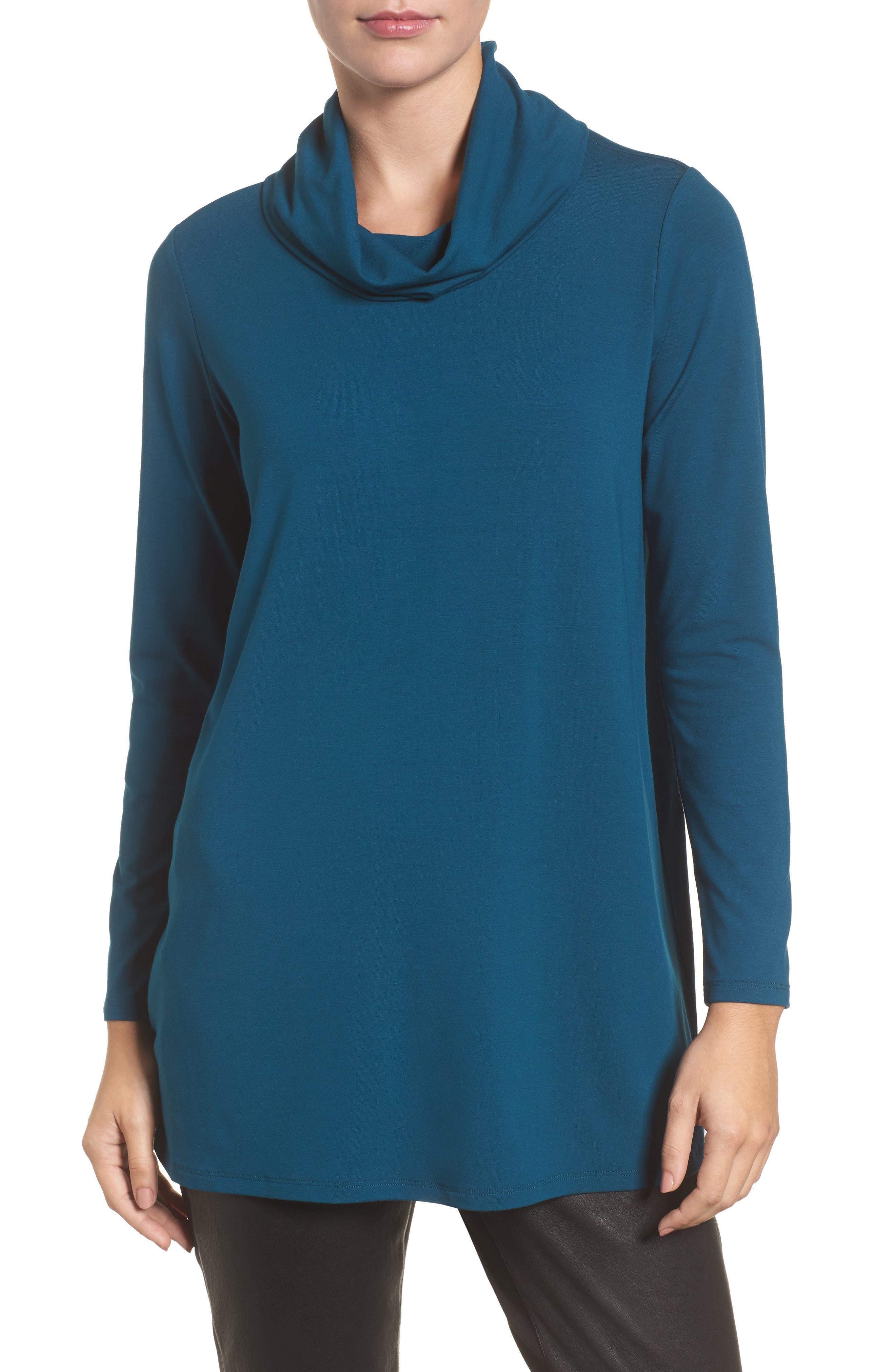 Eileen Fisher Drape Neck Jersey Top (Regular & Petite)
