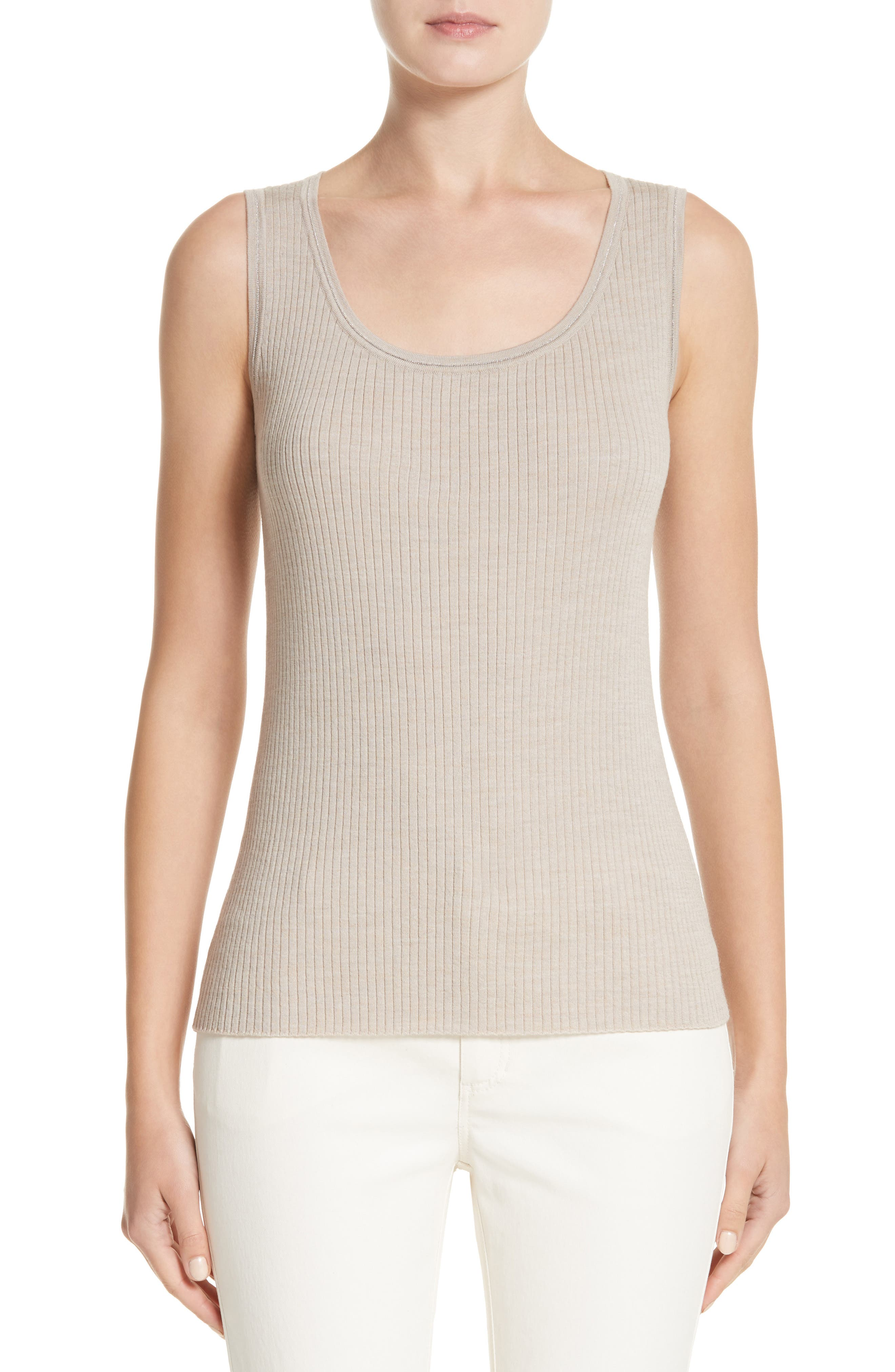 Metallic Trim Modern Ribbed Tank,                             Main thumbnail 1, color,                             Luxor Melange