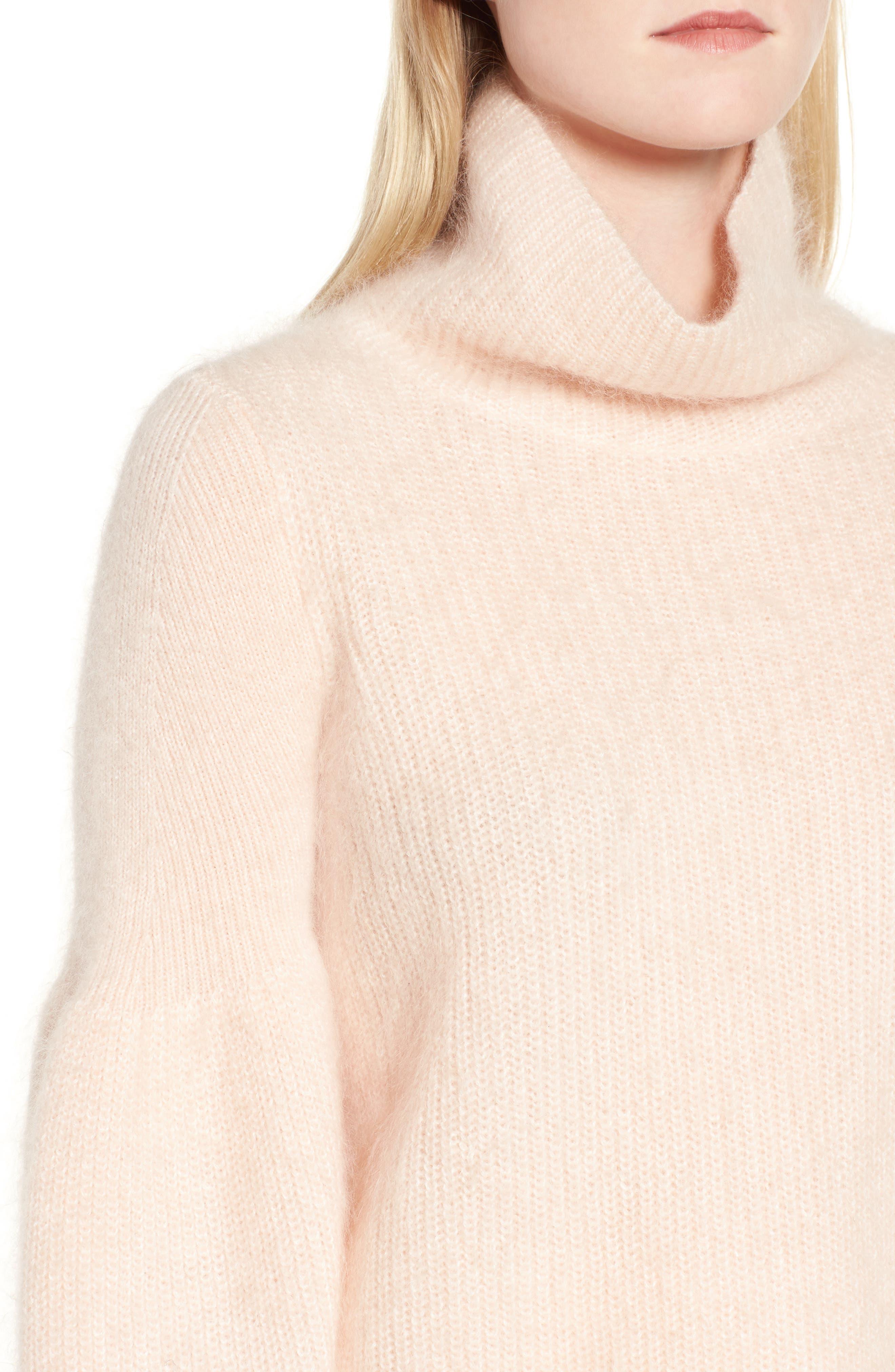 Poet Sleeve Sweater,                             Alternate thumbnail 4, color,                             Pink Peony Bud